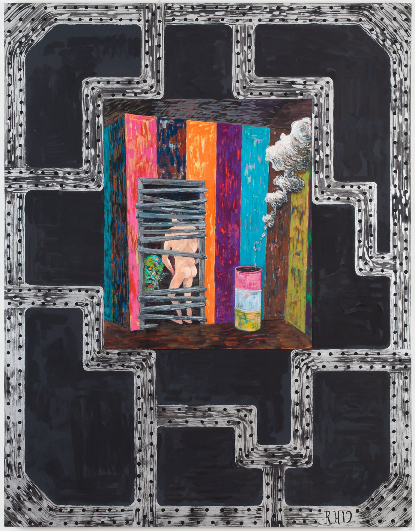 Brig #5: Cumpire, 2012, Oil on canvas and acrylic on panel, 63 x 49 x 1 5/8 inches (160 x 124.5 x 4.1 cm)