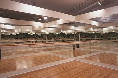 Installation view, Intermediate II, Greene Naftali, New York, 2001, portable ballet studio: wood, mirrors, oak bar, chrome fixtures, oak slat floor, 11 x 15 feet