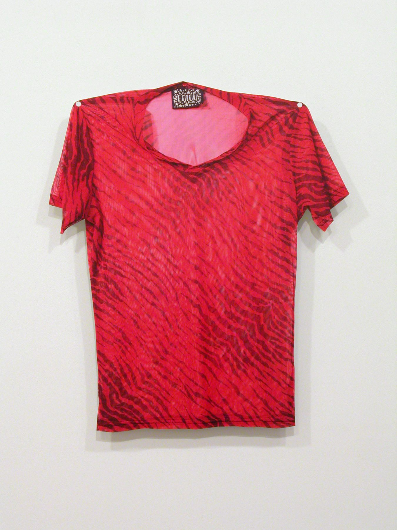 Jim Drain, Untitled (SERIOUS red animal print t-shirt), 2007, C-print, Mounted on Aluminum, 26 1/2 x 23 x 1 inches