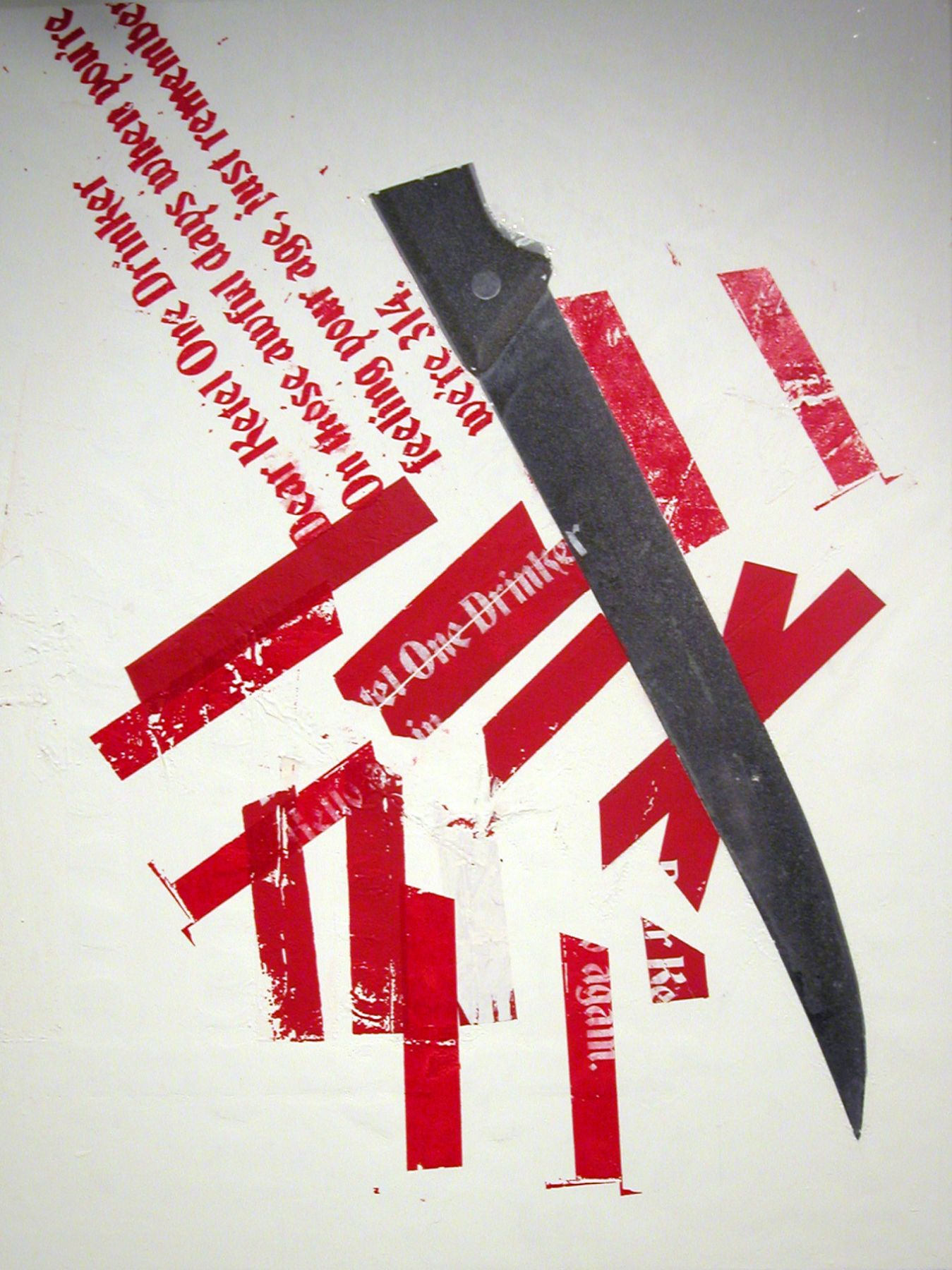 Untitled (Ketel I Knife Painting), 2005,  silkscreen and inkjet on canvas,  48 x 36 inches