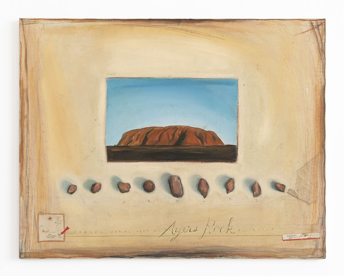 Candy Jernigan, Travel Series Part 10 – Ayers Rock, Australia, 1986,  Oil on canvas,  22 x 28 x 3/4 inches (55.9 x 71.1 x 1.9 cm)