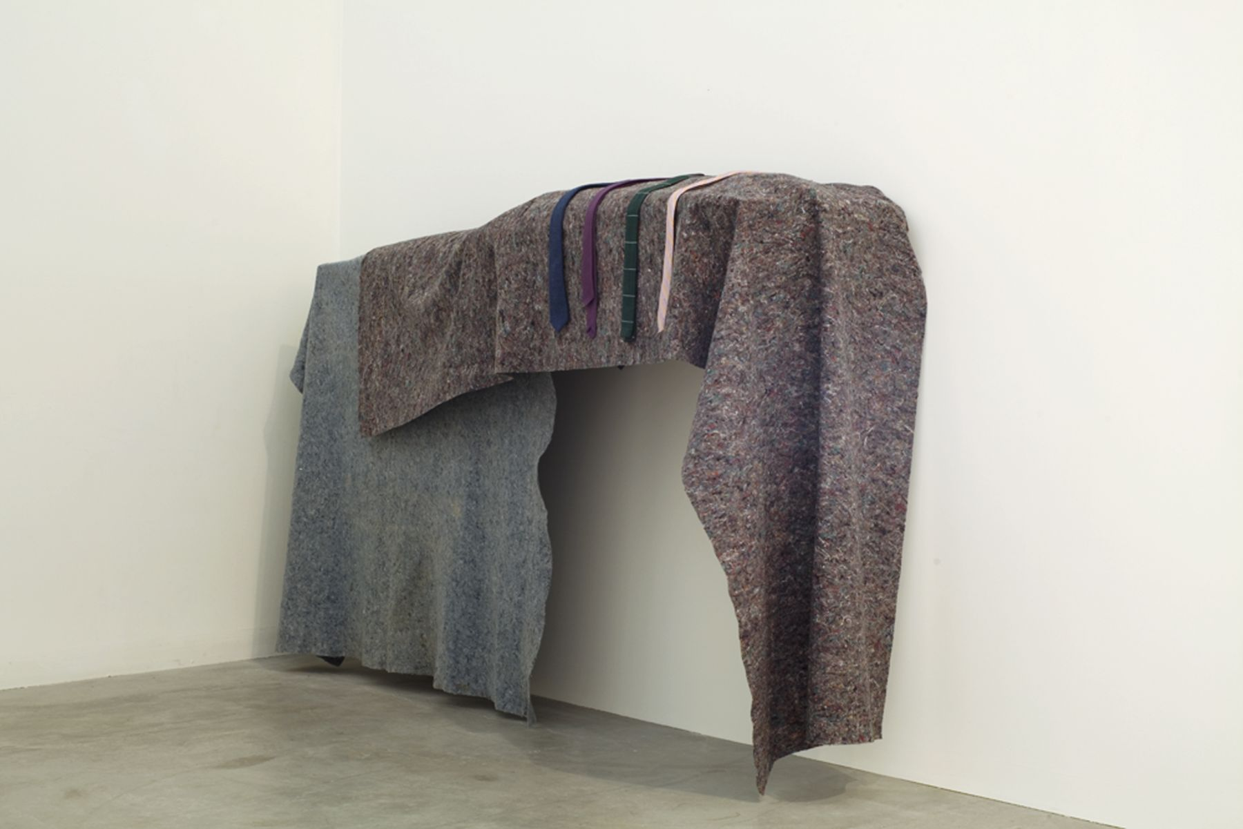 Gedi Sibony Made For Ribbons, 2009 Blankets, neckties 57 x 106 x 24 inches 12.7 x 269.24 x 60.96 cm