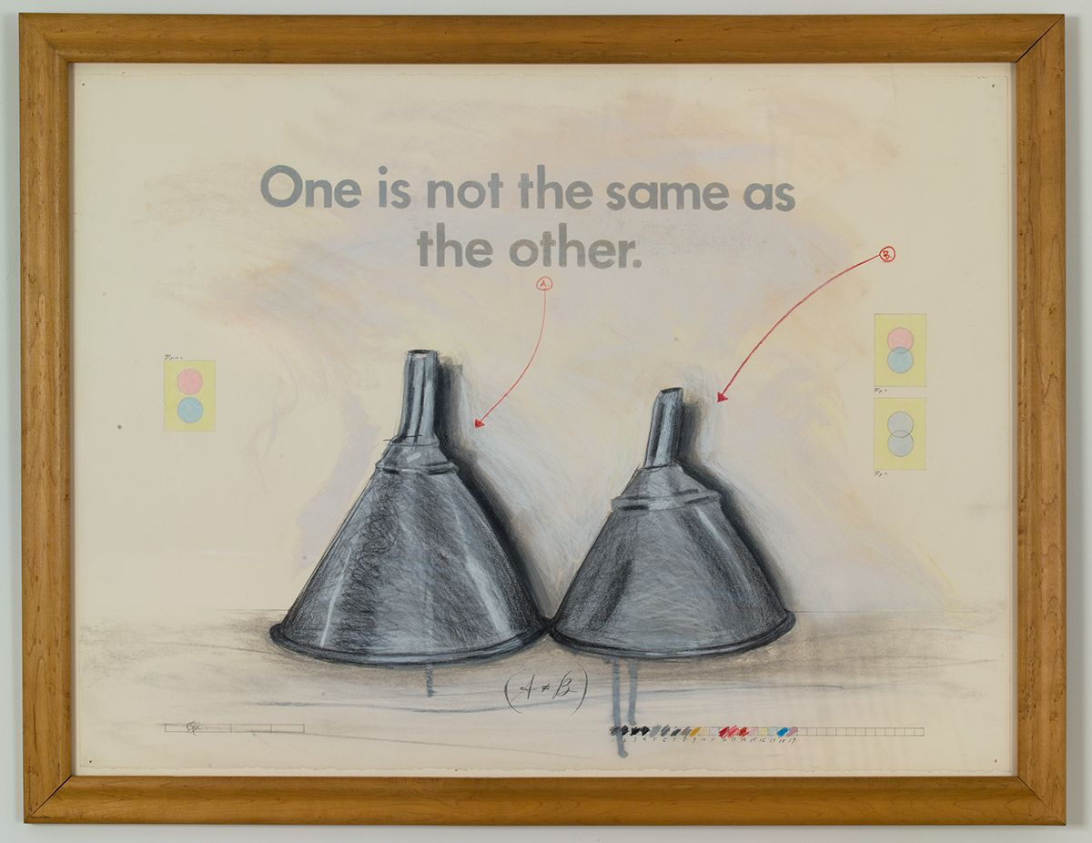Candy Jernigan, One is not the same as the other, November, 1987, Graphite and colored pencil on paper, 26 x 34 x 1 inches (66 x 86.4 x 2.5 cm)