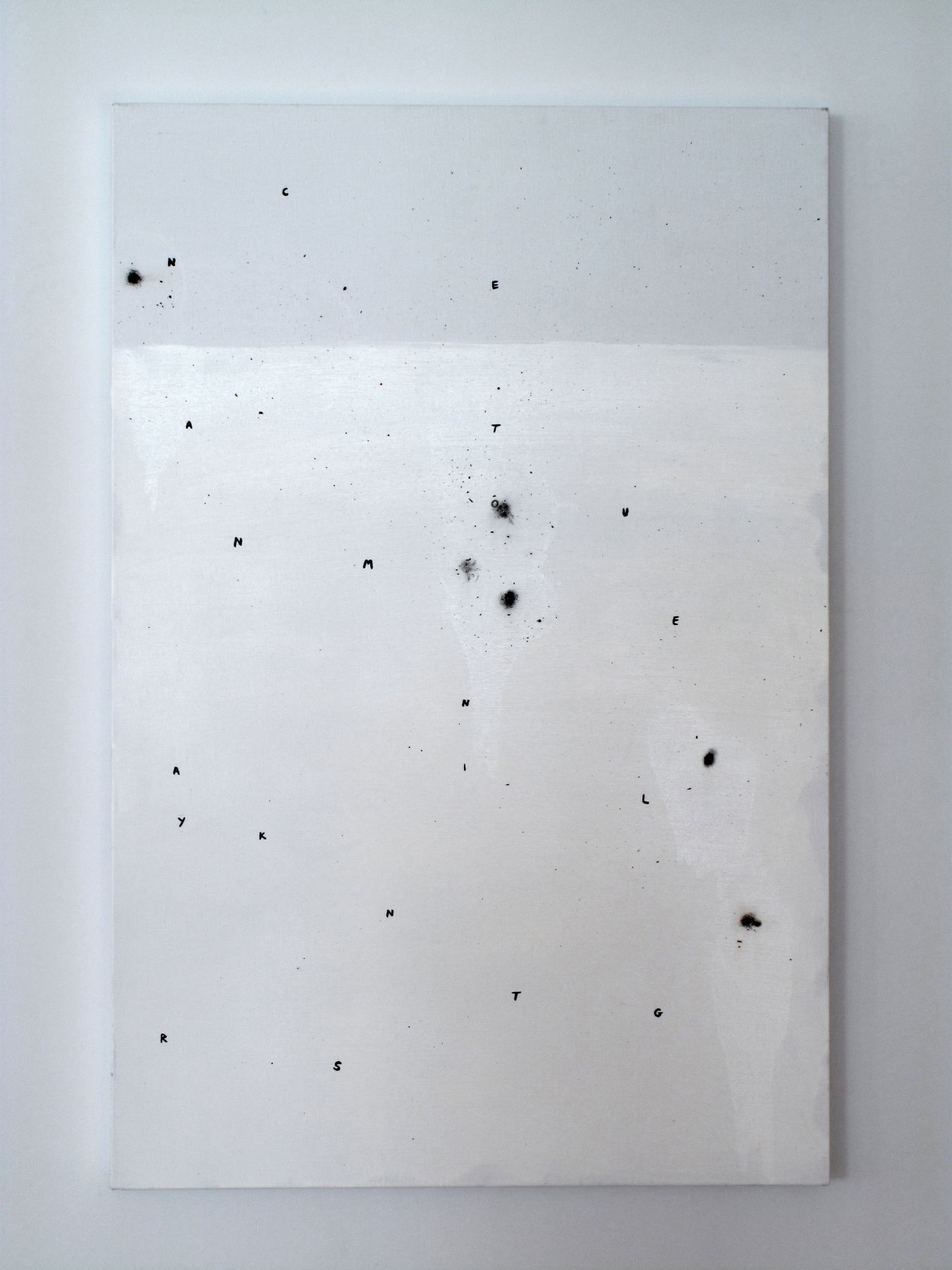 josef strau, The Assistant (3), 2008, ink letters, ashes, acrylic and adhesive on canvas, 36 x 24 inches