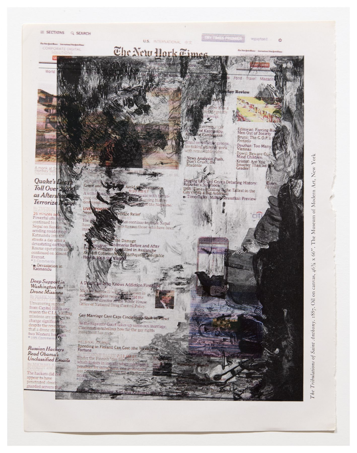 Wade Guyton Untitled (The Tribulations of St. Anthony), 2015 Epson DURABrite inkjet on book page Paper: 10 1/2 x 8 1/2 inches (26.7 x 21.6 cm) Frame: 17 1/2 x 16 inches (44.5 x 40.6 cm)