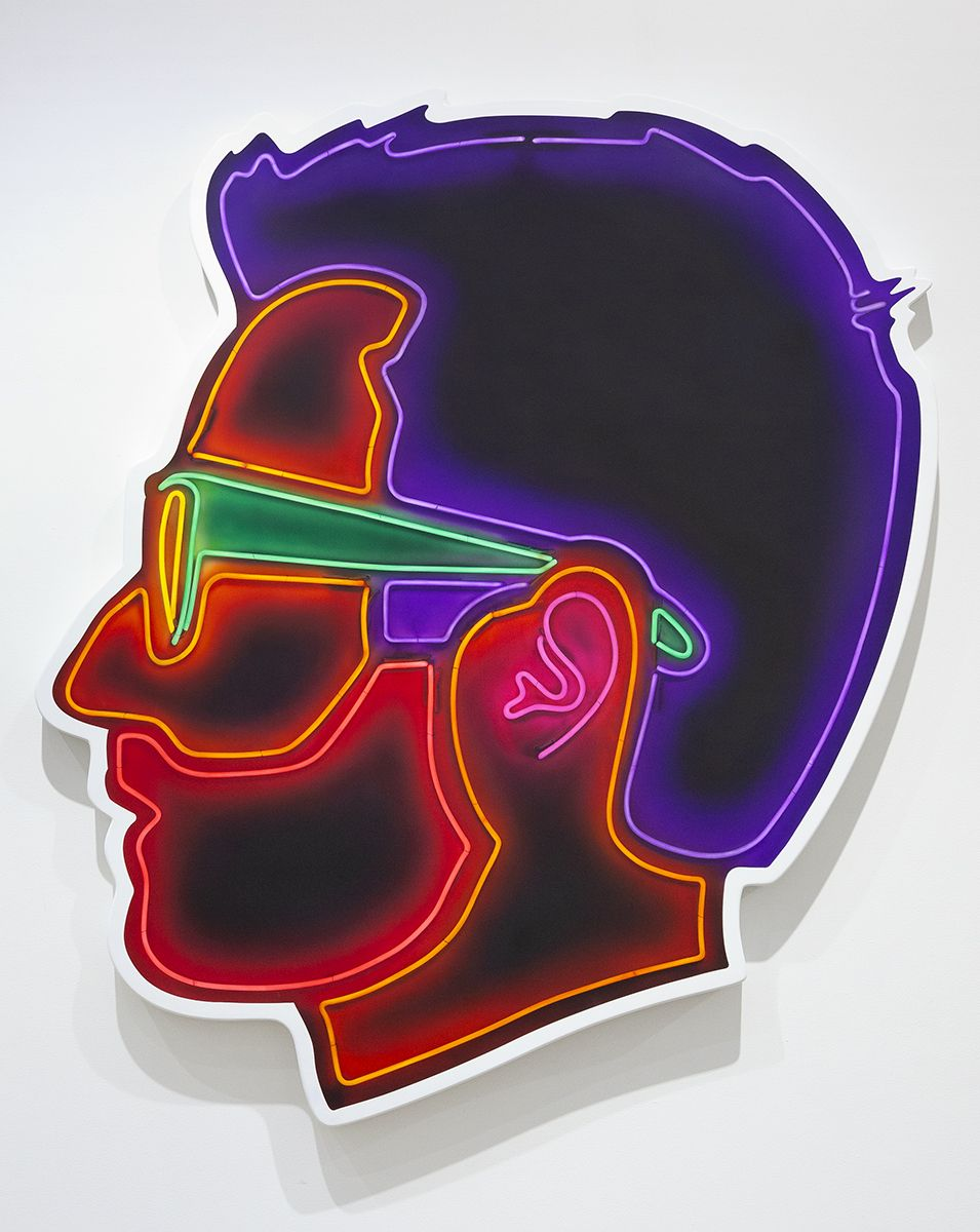 Alex Israel  Self-Portrait (Neon), 2018  Acrylic and bondo on fiberglass  96 x 84 x 4 inches (243.8 x 213.4 x 10.2 cm)