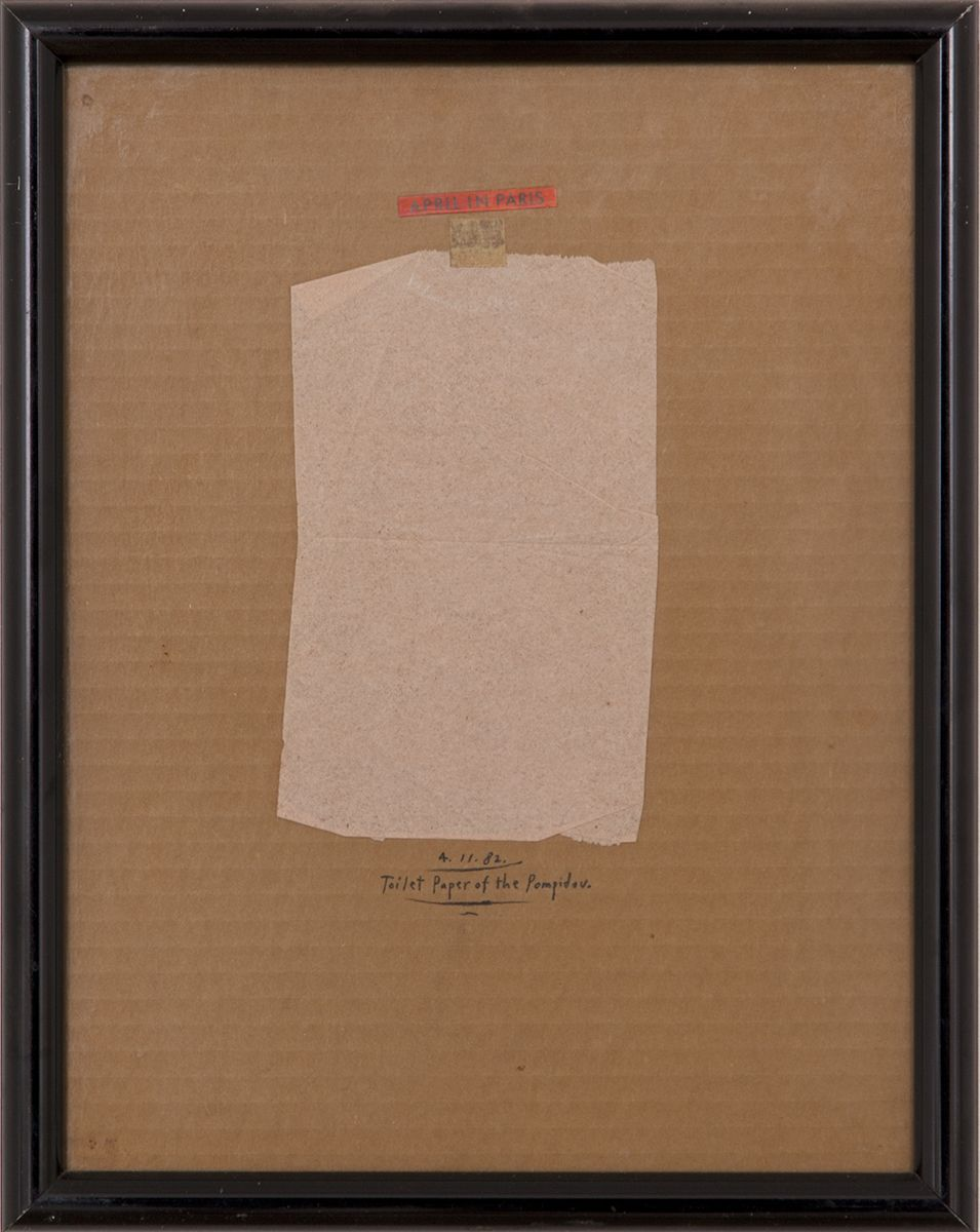 Candy Jernigan, April in Paris, Toilet Paper of the Pompidou, April 11 1982, Collage on corrugated cardboard, 14 1/2 x 11 1/2 x 1 inches (36.8 x 29.2 x 2.5 cm)
