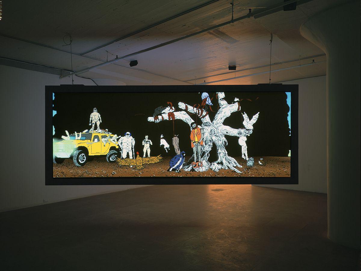 My birds... trash... the future., 2004,  two channel digital projection installation,  Installation view, Greene Naftali, New York, 2004
