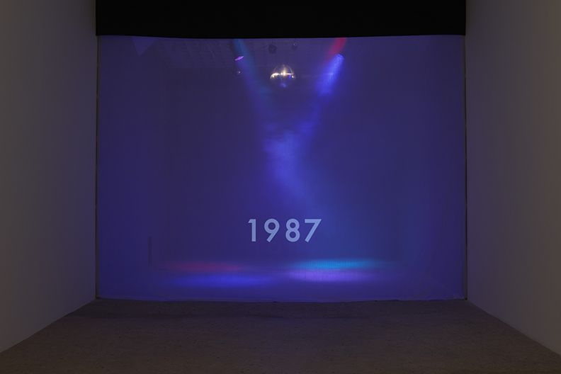 Timeline, 2015 Disco ball, colored lights, fog machine, single channel video (looped)