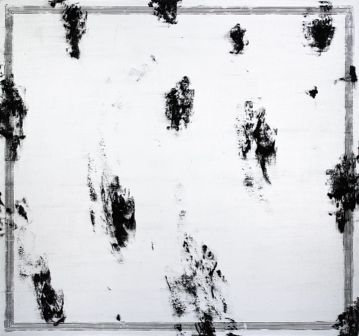 Jacqueline Humphries  Untitled, 2012  Oil on linen  90 x 96 inches (228.6 x 243.8 cm)