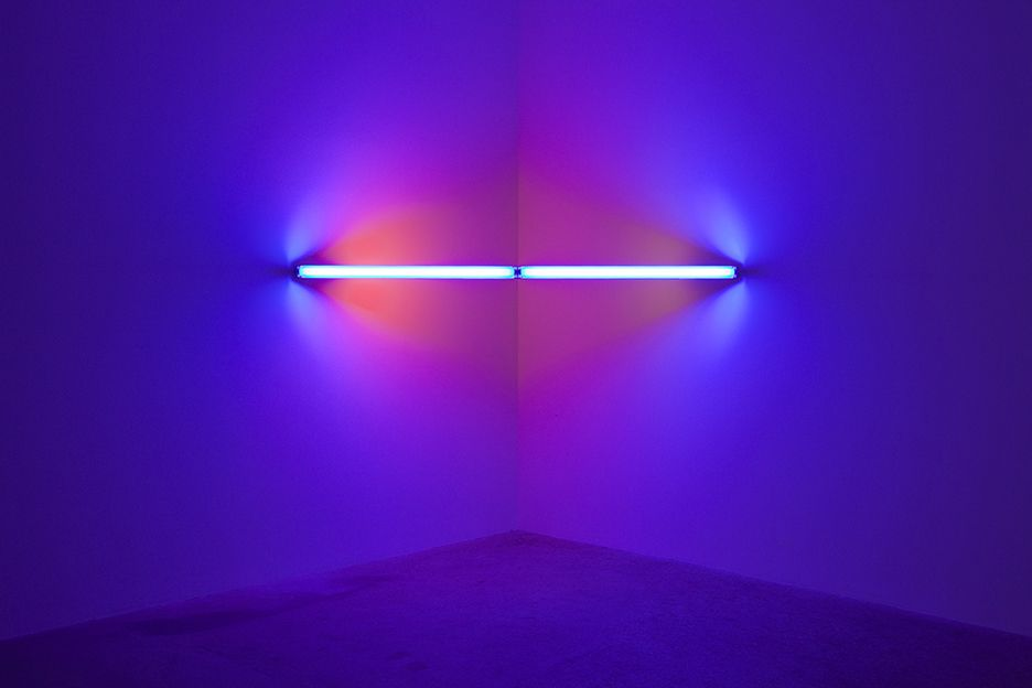 Dan Flavin  Untitled, 1969  Two 48-inch blue, two 24-inch pink, one 24-inch yellow lights and fixtures  96 inches across the corner (244 cm across the corner)
