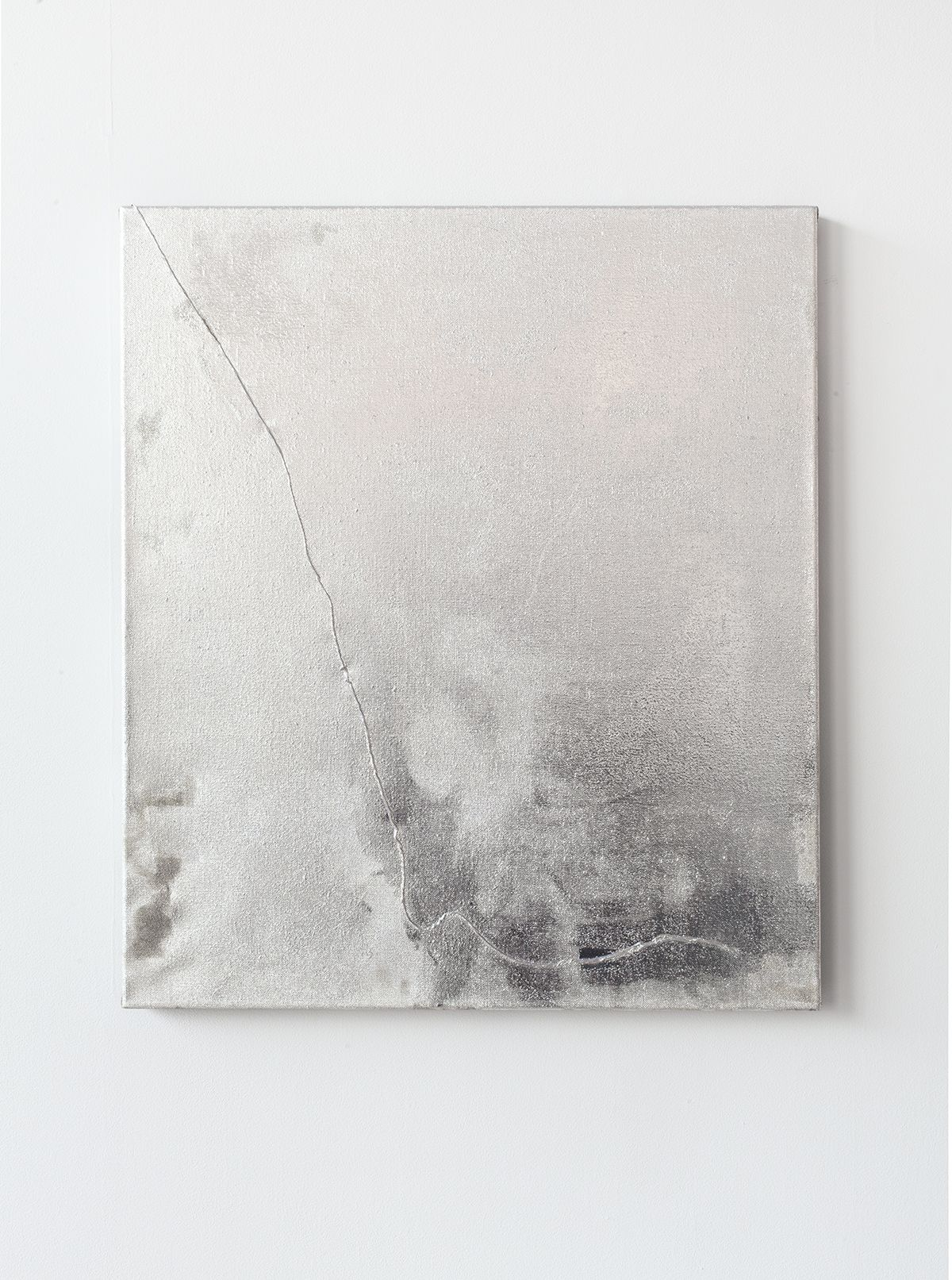 Mathieu Malouf  Untitled, 2013  Gesso, human hairs, and electro silver plating process on linen  30 x 24 inches (76.2 x 61 cm)