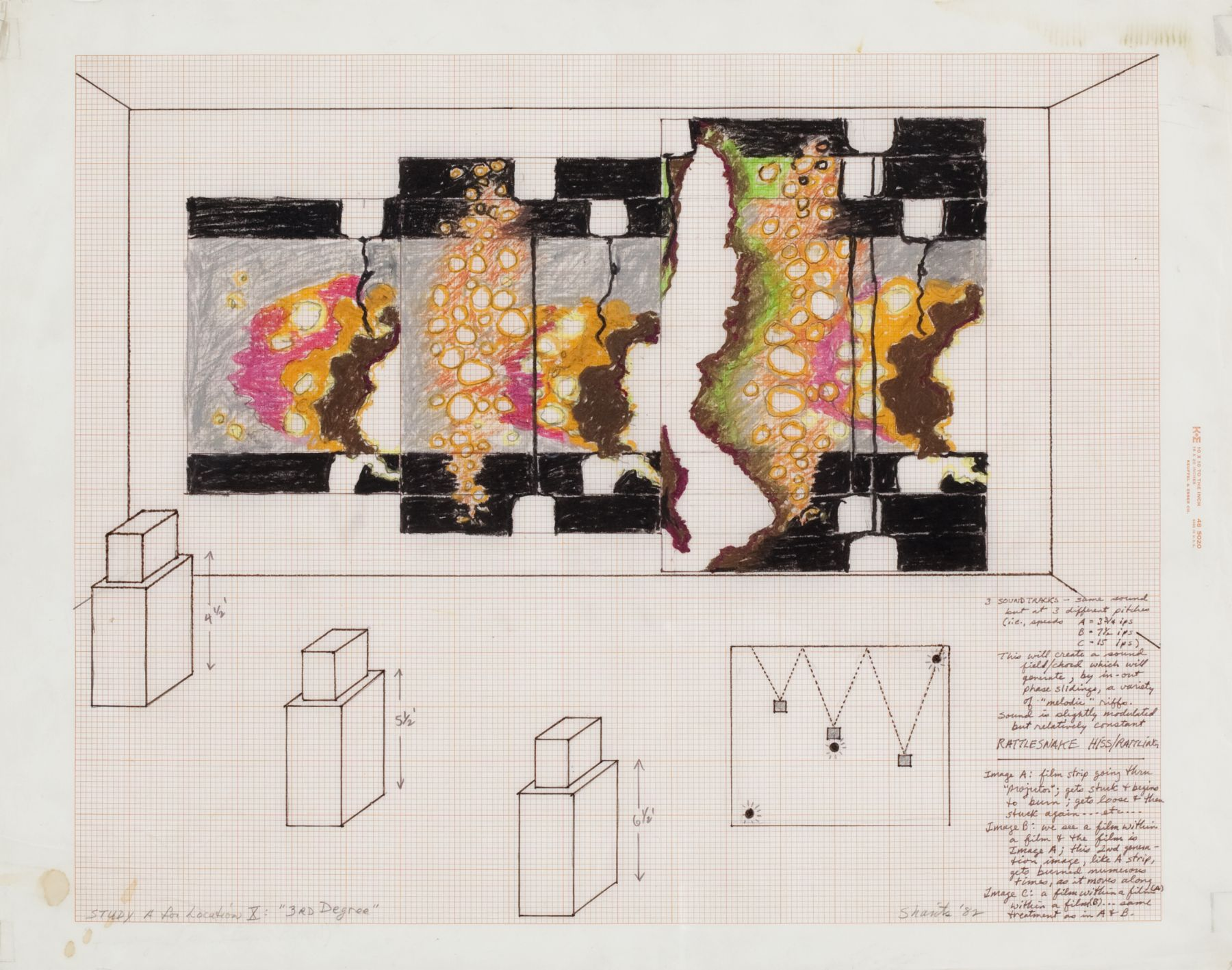 Paul Sharits, Study A for Location X, 3rd Degree, 1982, mixed media on velum, 18 x 23 inches