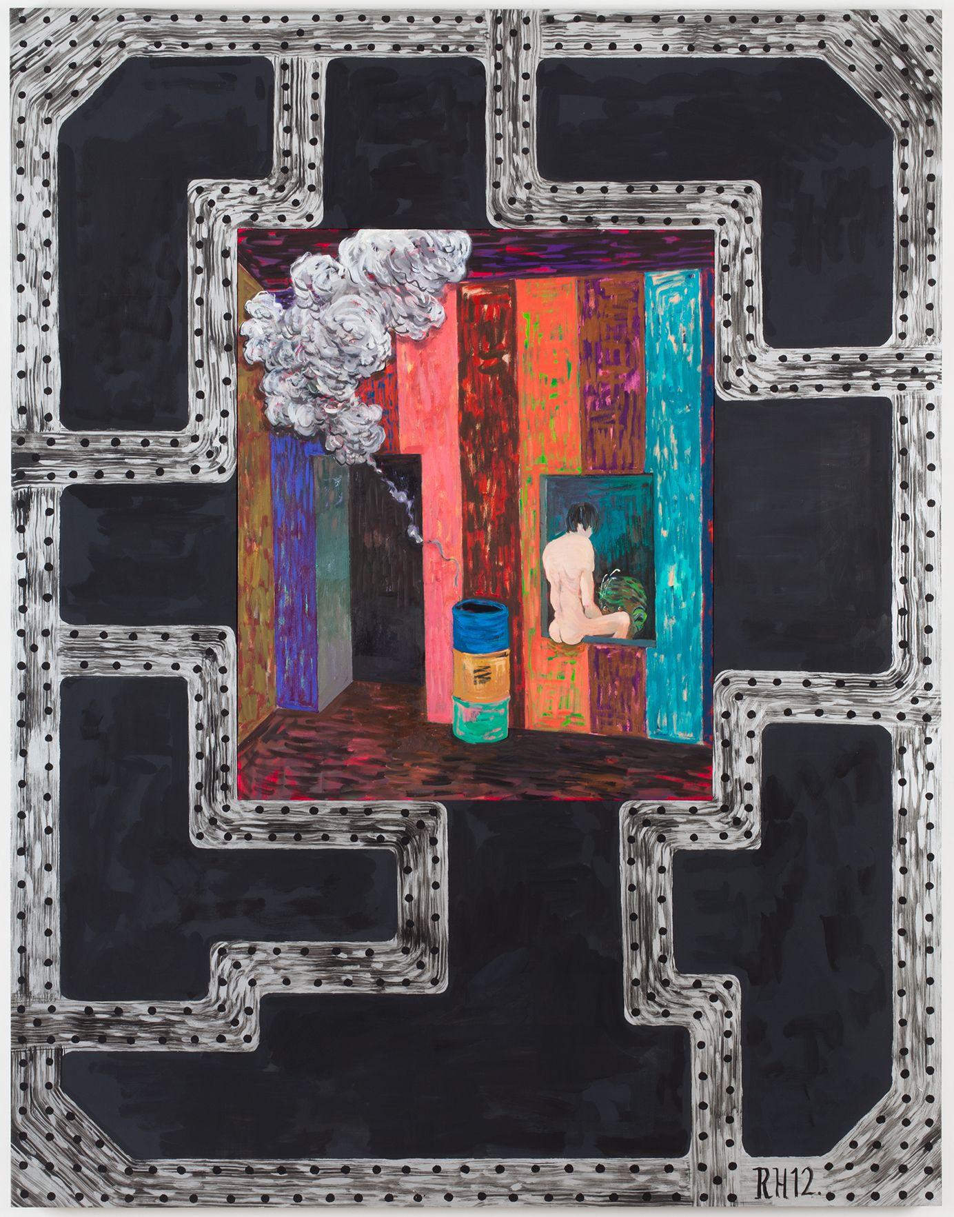Richard Hawkins Brig #6: Overshot, 2012 Oil on canvas and acrylic on panel 63 x 49 x 1 5/8 inches 160 x 124.5 x 4.1 cm