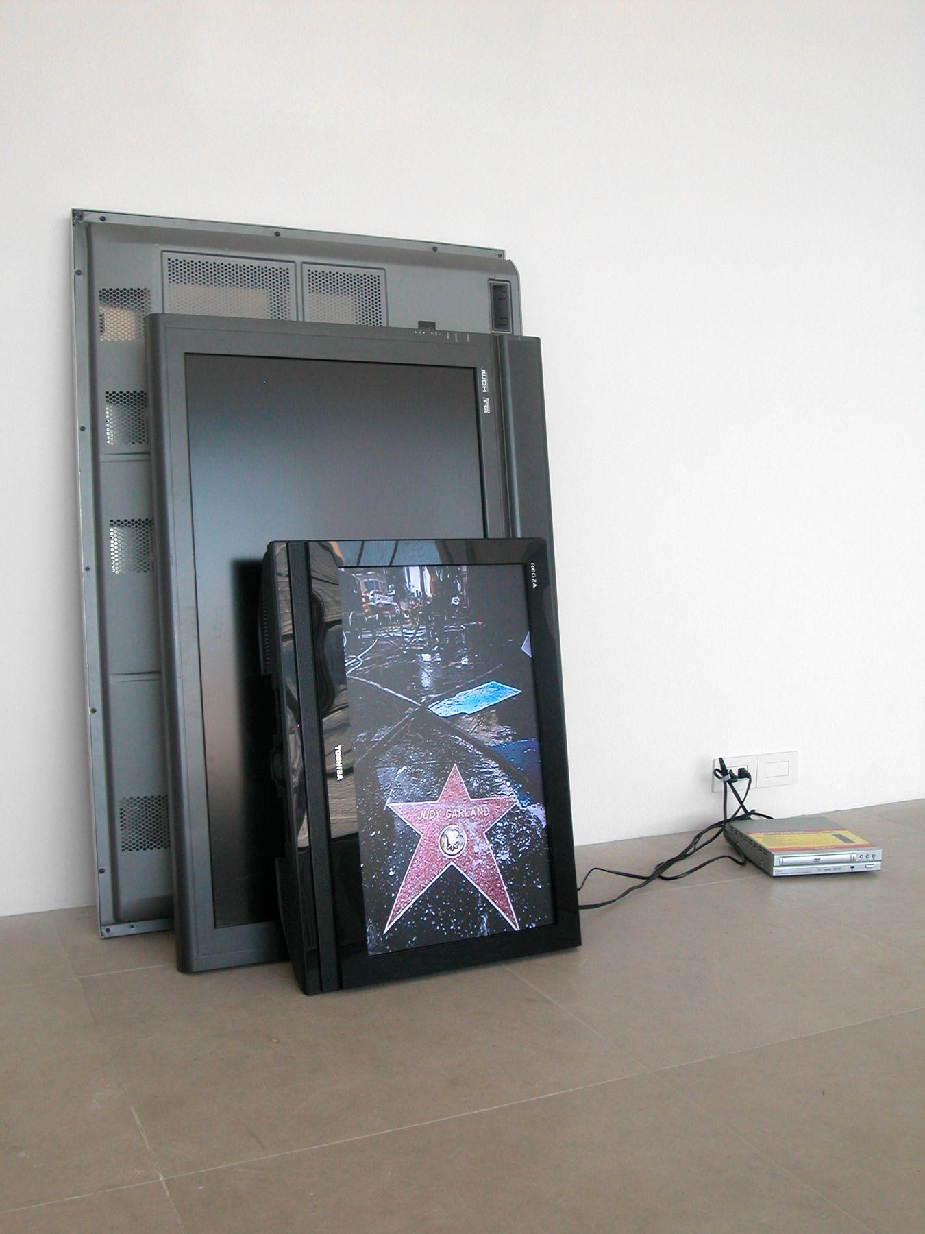 Bernadette Corporation, Pedestrian Cinema, 2008, 3 flat screen monitors, found image, dvd player