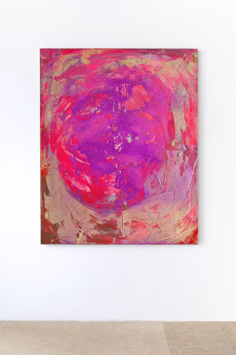 Mathieu Malouf  Helter Skelter, 2017  Plastisol silkscreen ink, glitter, polymer on linen  60 x 48 inches (152.4 x 121.9 cm)
