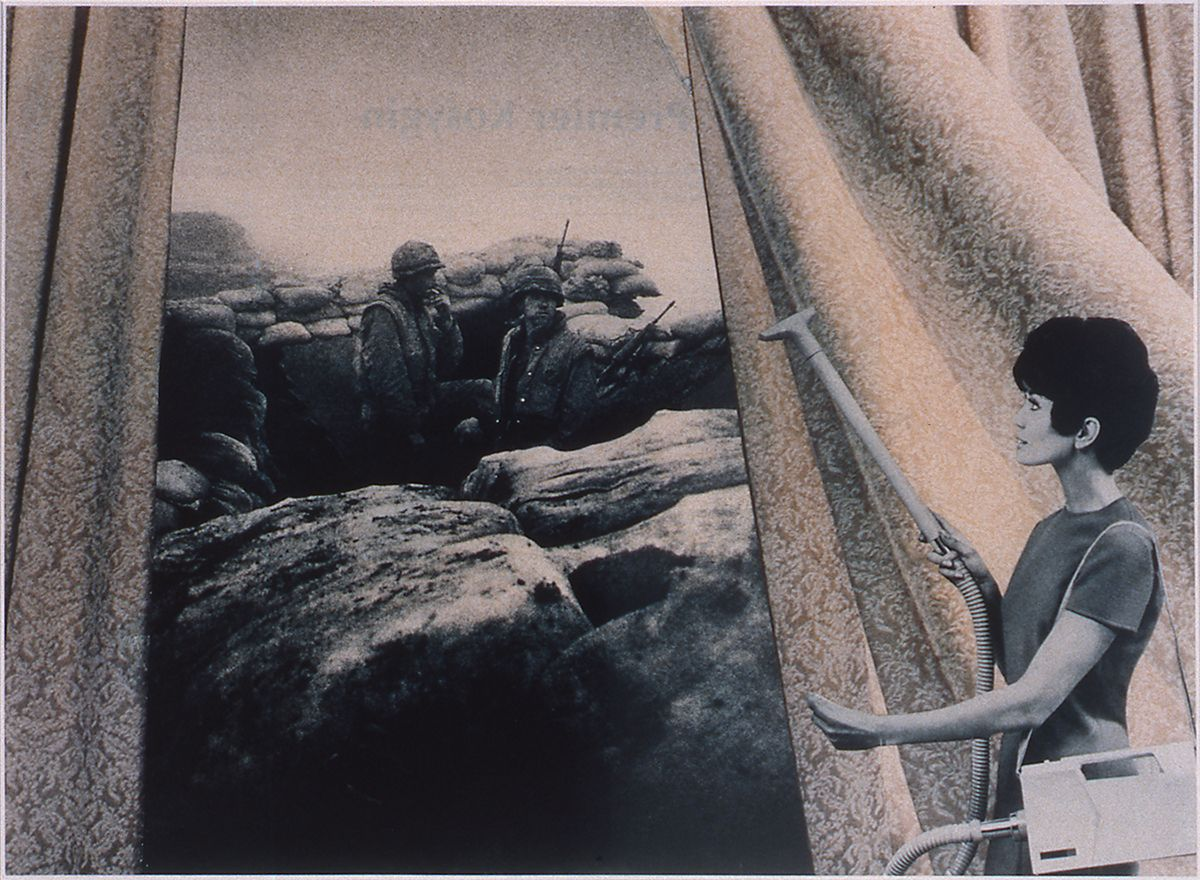 Martha Rosler, Woman with Cannon (Dots), 1969-72, photomontage printed as color photograph, 20 x 24 inches, ed. 1/10