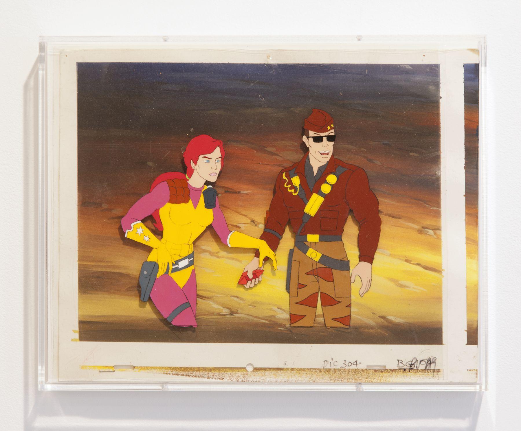 Lutz Bacher Space Cadets 2007 Plastic, Paint, Paper  Paper: 10 1/4 x 13 3/4 inches (26 x 34.9 cm) Frame: 11 1/16 x 14 1/4 inches (28.1 x 36.2 x 3.3 cm)