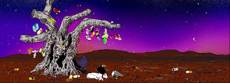 My birds... trash... the future., 2004 (still),  two channel digital projection installation
