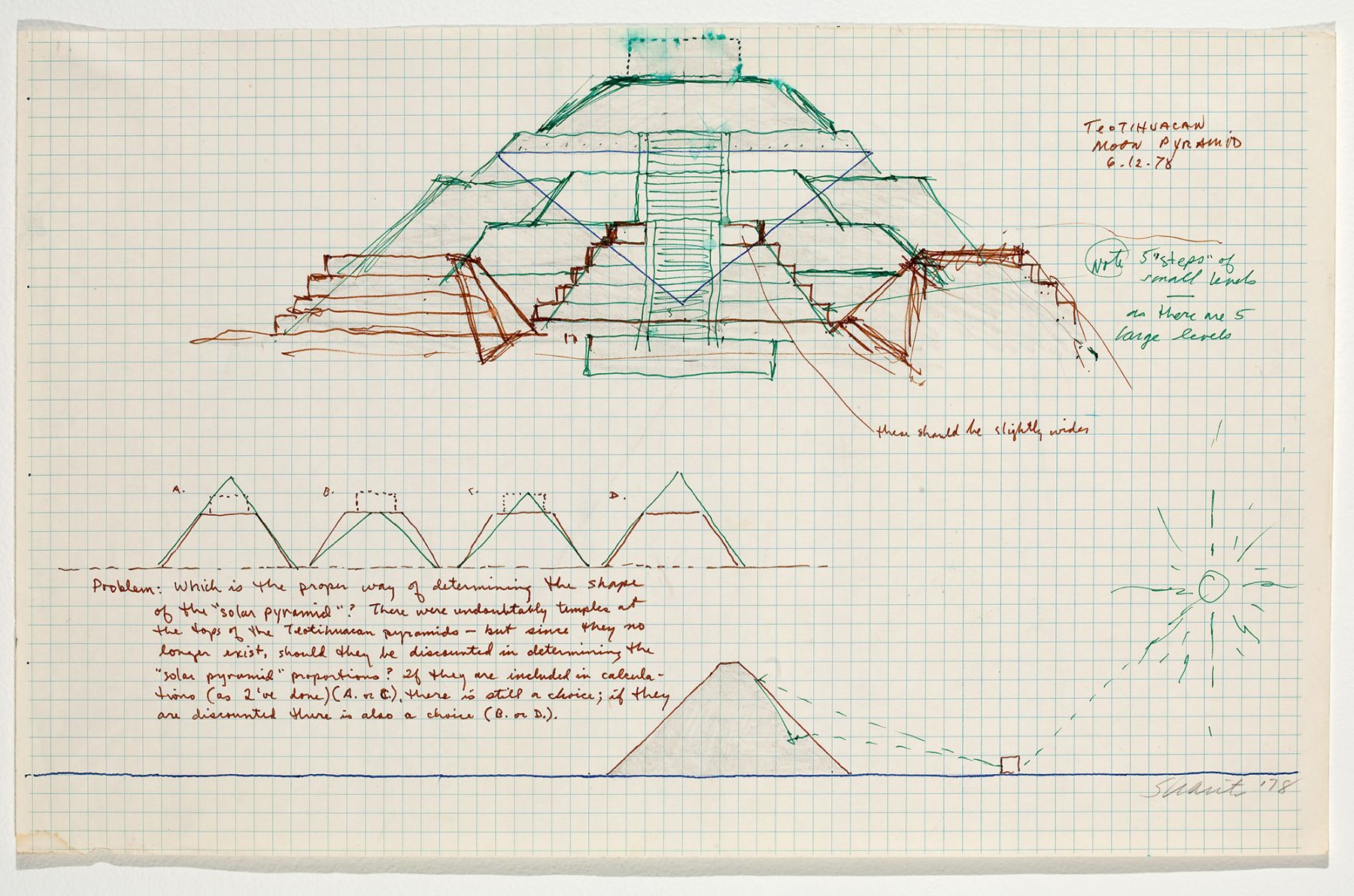 Teotihuacan Moon Pyramid, 1978, colored ink on paper, 11 x 17 1/2 inches