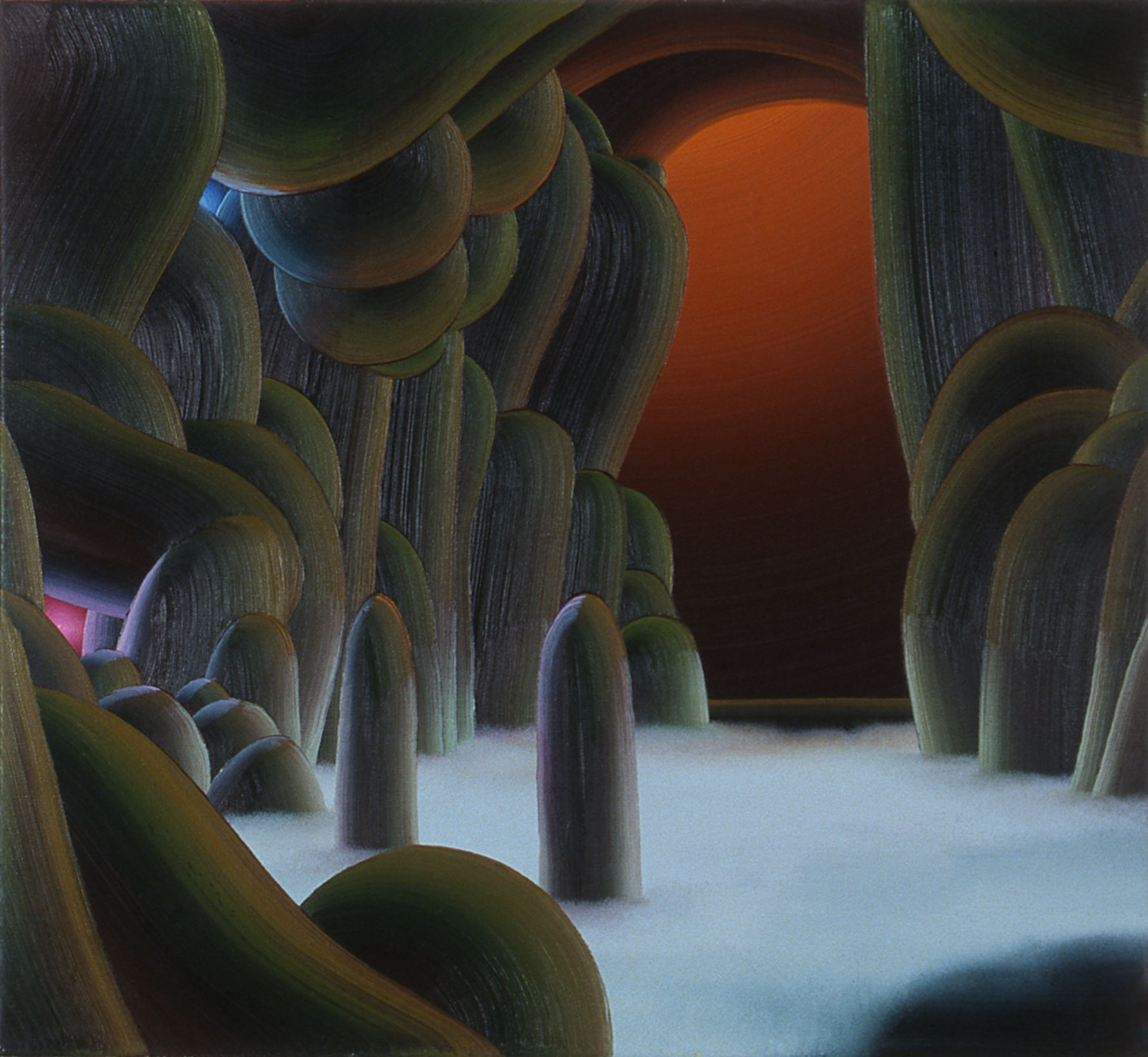 Christian Ward, Cave with Blue Mist & Orange Light, 2003, Oil on canvas, 24 x 26 inches
