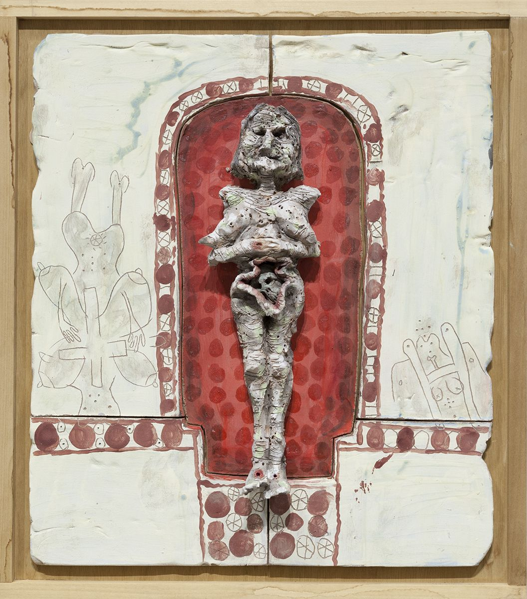 Richard Hawkins  Norogachian Prostitute Priestess of the Sun, 2016  Glazed ceramic in artist's frame   25 3/4 x 22 3/4 x 3 1/2 inches (65.4 x 57.8 x 8.9 cm)