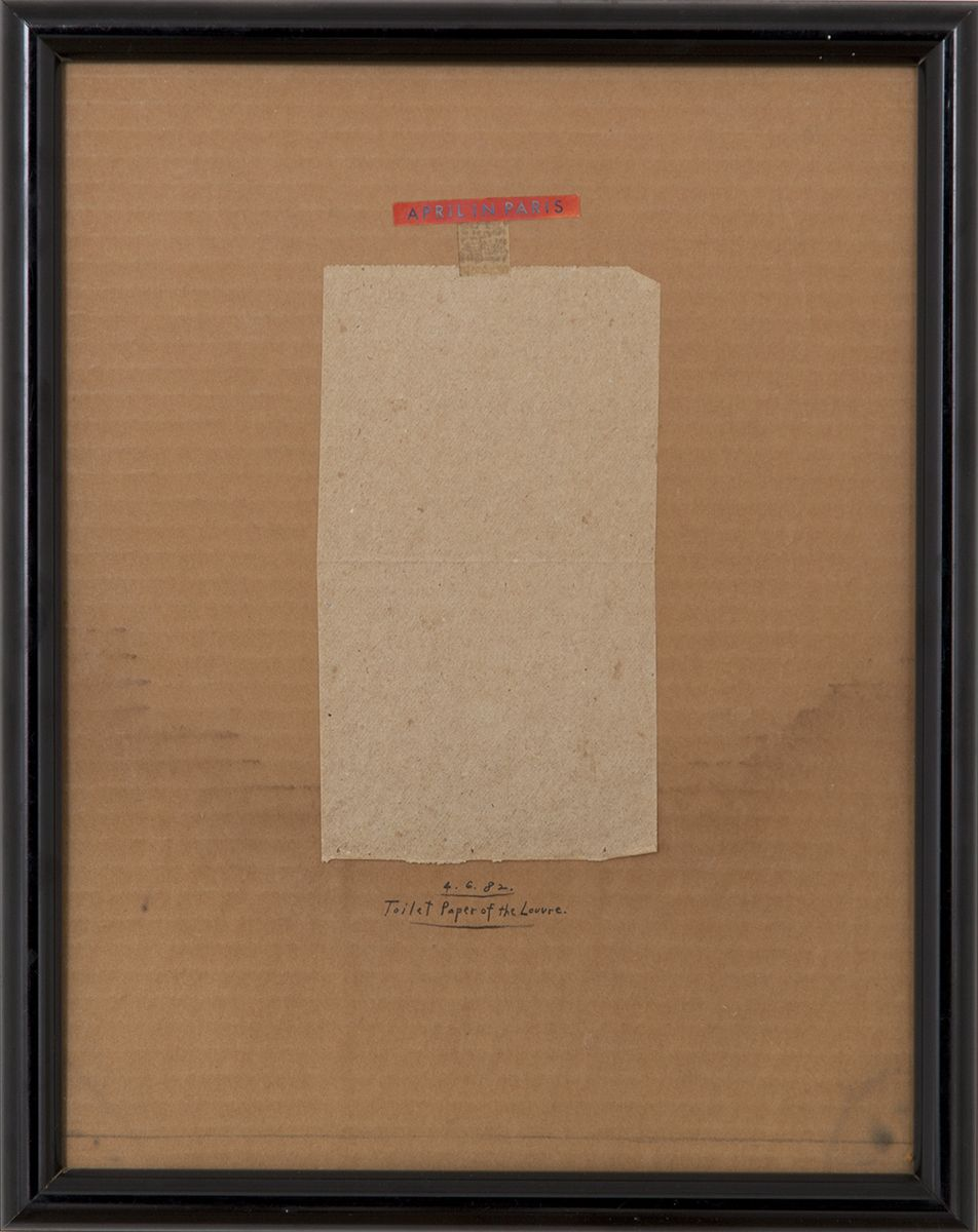 Candy Jernigan, April in Paris, Toilet Paper of the Louvre, April 6, 1982, Collage on corrugated cardboard, 14 1/2 x 11 1/2 x 1 inches (36.8 x 29.2 x 2.5 cm)