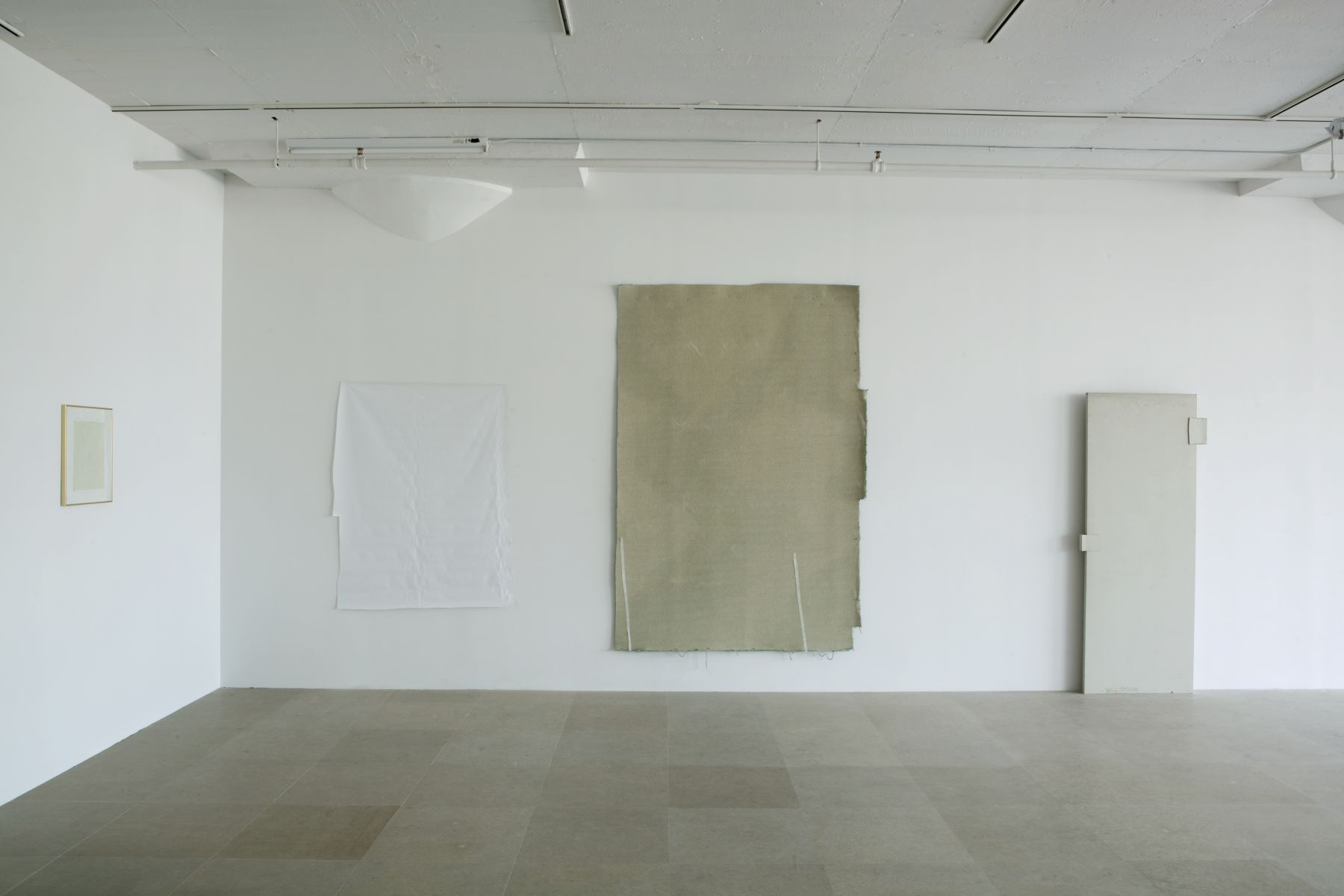 Gedi Sibony, From Center, and Skinny Legs Satisfying The Purposes Completely, Her Trumpeted Spoke Lastly, 2010, hollow-core door, paint, carpet, tape, vinyl, matted drawing reversed in frame, 120 x 120 x 288 inches overall footprint