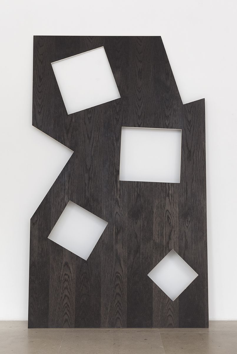 Hilary Lloyd  Squares, 2017  Black stained Baltic wood  78 3/4 x 47 1/4 x 3/4 inches (200 x 120 x 1.9 cm)