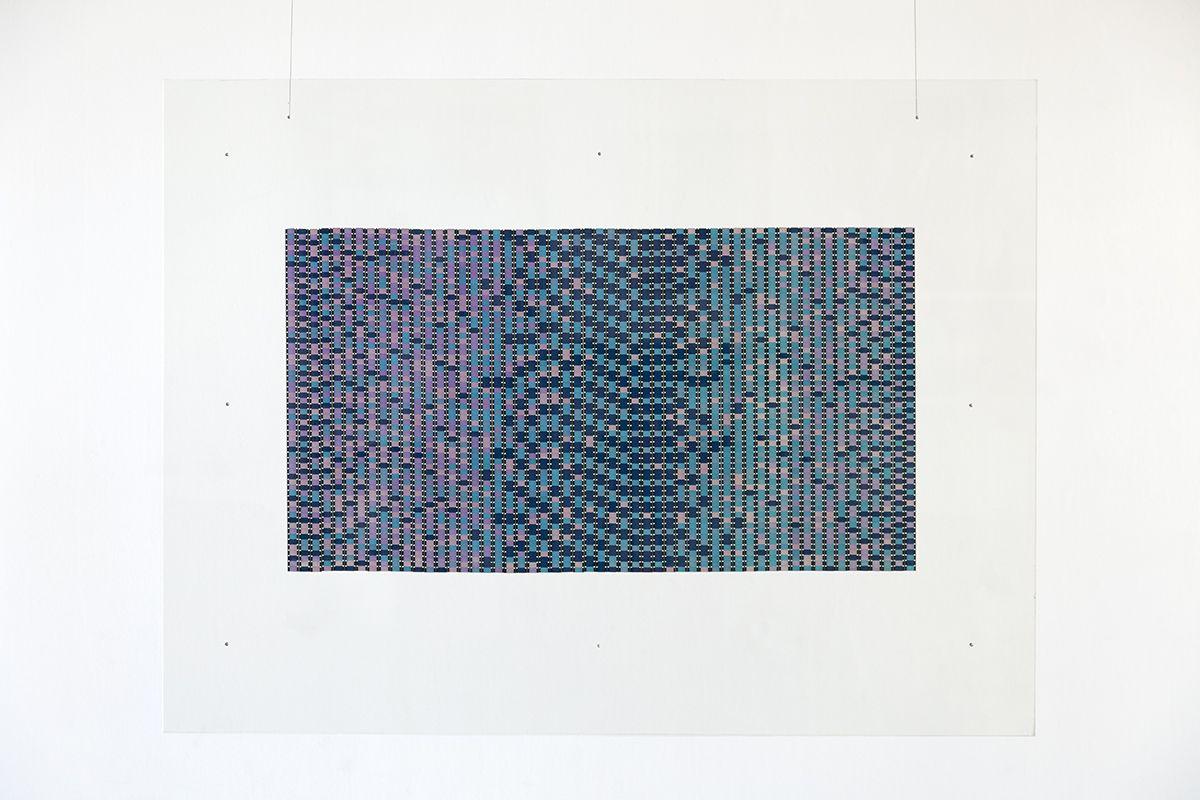 Paul Sharits Frozen Film Frame: Specimen IV, 1966 16-mm color film strips between plexiglass plates 18 1/2 x 34 inches (47 x 86.4 cm)