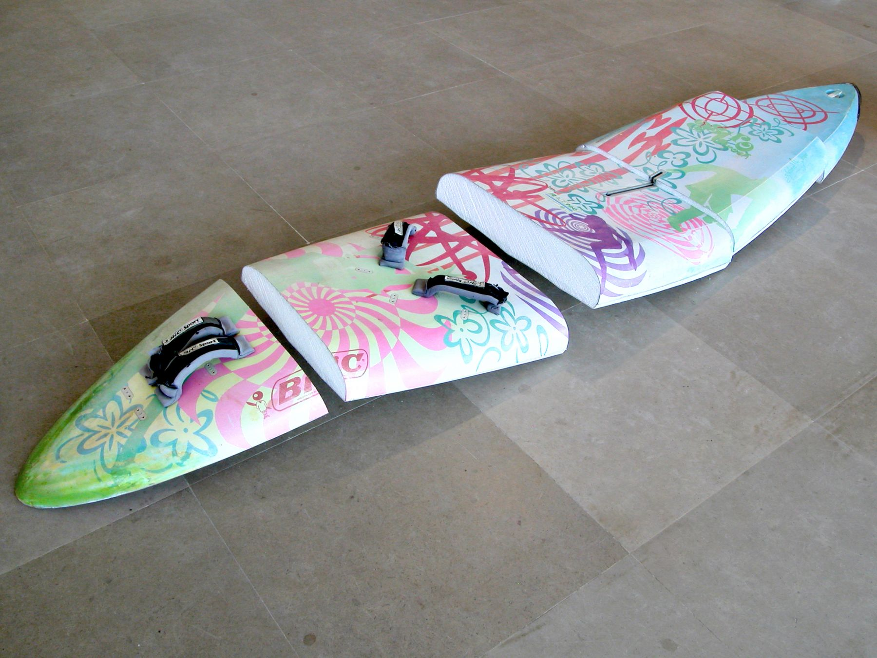 Michael Krebber, astrorock, 2008, Windsurfing board, wall mounts, 116 x 23 inches