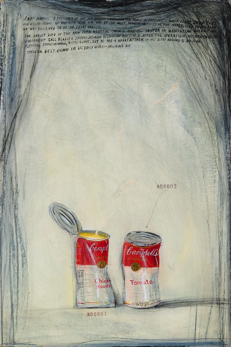 Candy Jernigan, Cambell's Soup Cans #00001-00002, c. 1987, Oil on board, 32 7/8 x 23 x 1 1/2 inches (83.5 x 58.4 x 3.8 cm)