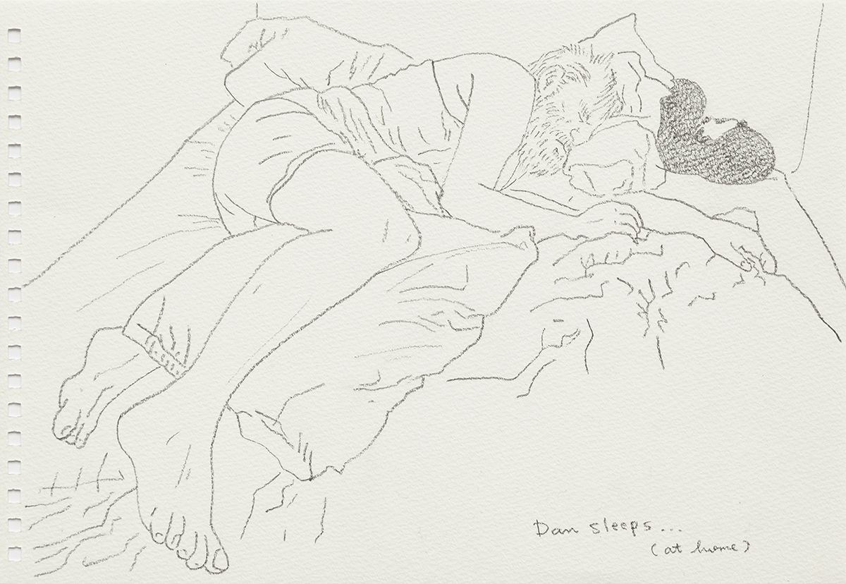 Mieko Meguro Dan Sleeps...(At Home), 2016 Graphite on paper Image: 6 3/8 x 9 7/8 inches (16.5 x 25.1 cm)  Frame: 9 1/2 x 12 1/2 x 1 1/8 inches (24.1 x 31.7 x 3.0 cm)