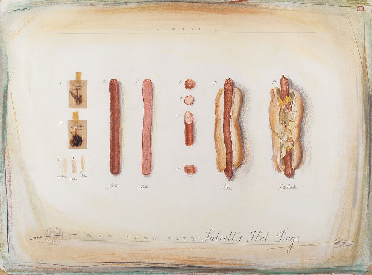 Candy Jernigan, THE NEW YORK COLLECTIONS, Sabrett's Hot Dog, September 16 1985, Pastel, pencil, rubber stamps, and food smears on paper, 26 x 34 x 1 inches (66 x 86.4 x 2.5 cm)