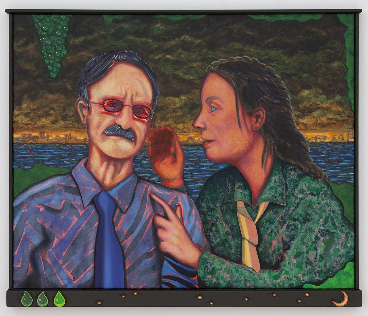 Magnus Anderson Hamlet and Horatio (Uncle and Mom), 2018 Oil on canvas, artist frame/acrylic on lime wood 35 7/8 x 42 7/8 x 2 inches (91 x 109 x 5 cm)