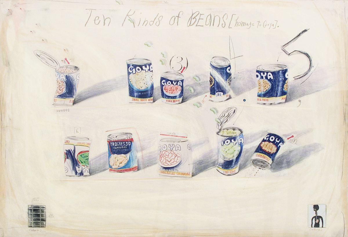 Candy Jernigan, THE NEW YORK COLLECTIONS, Ten Kinds of Beans (Homage to Goya), October 26, 1986, Pastel and pencil on paper, 36 1/4 x 49 3/4 inches (92 x 126.4 cm)