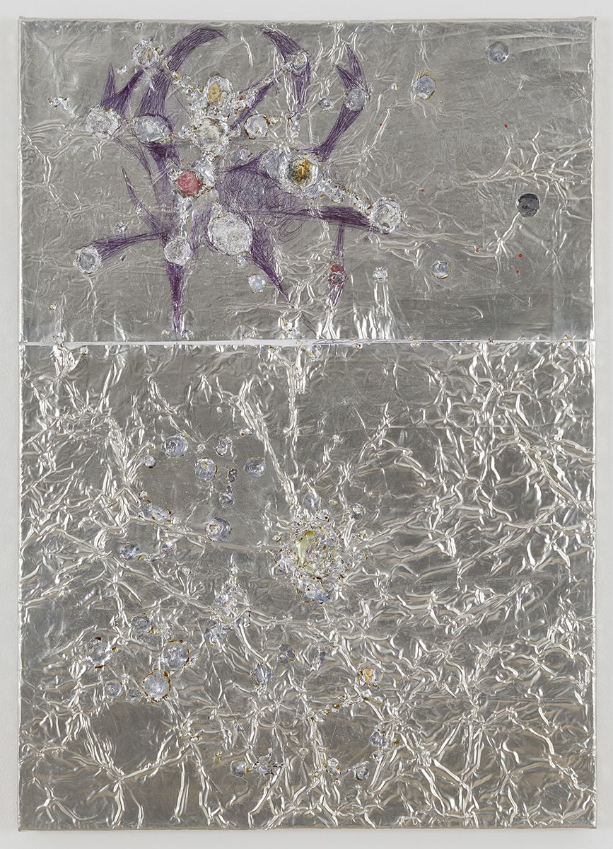 Josef Strau  Mischief, 2018  Tin plate, tin wire, acrylic, ballpoint pen on canvas  28 1/4 x 20 x 1 inches (71.8 x 50.8 x 2.5 cm)