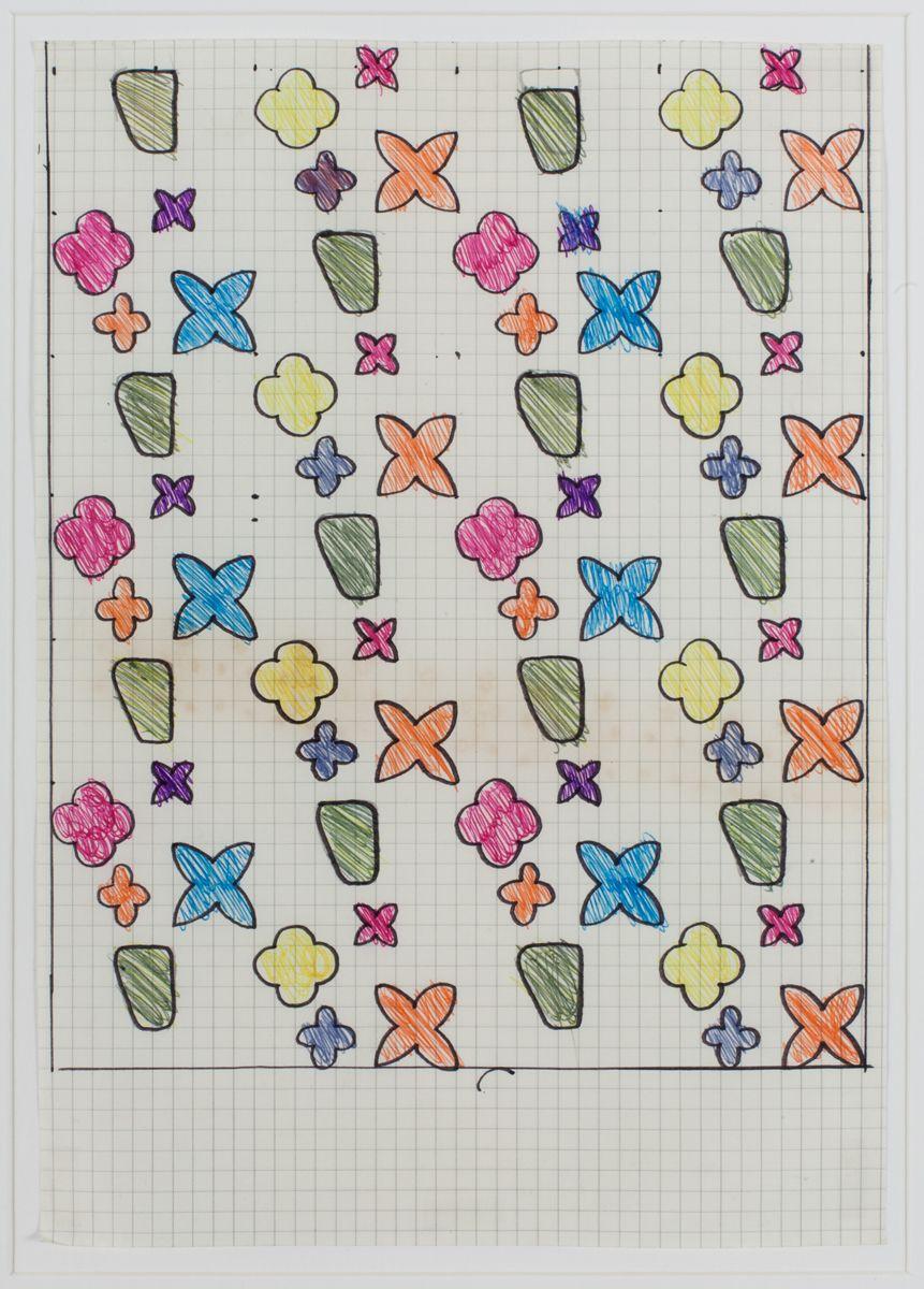 Konrad Lueg Untitled (Muster auf Kästchenpapier), Unknown Pencil and felt pen on graph paper Paper: 10 x 7 7/8 inches (25.5 x 20 cm) Frame: 17 3/4 x 14 3/8 (45.2 x 35.5 cm)