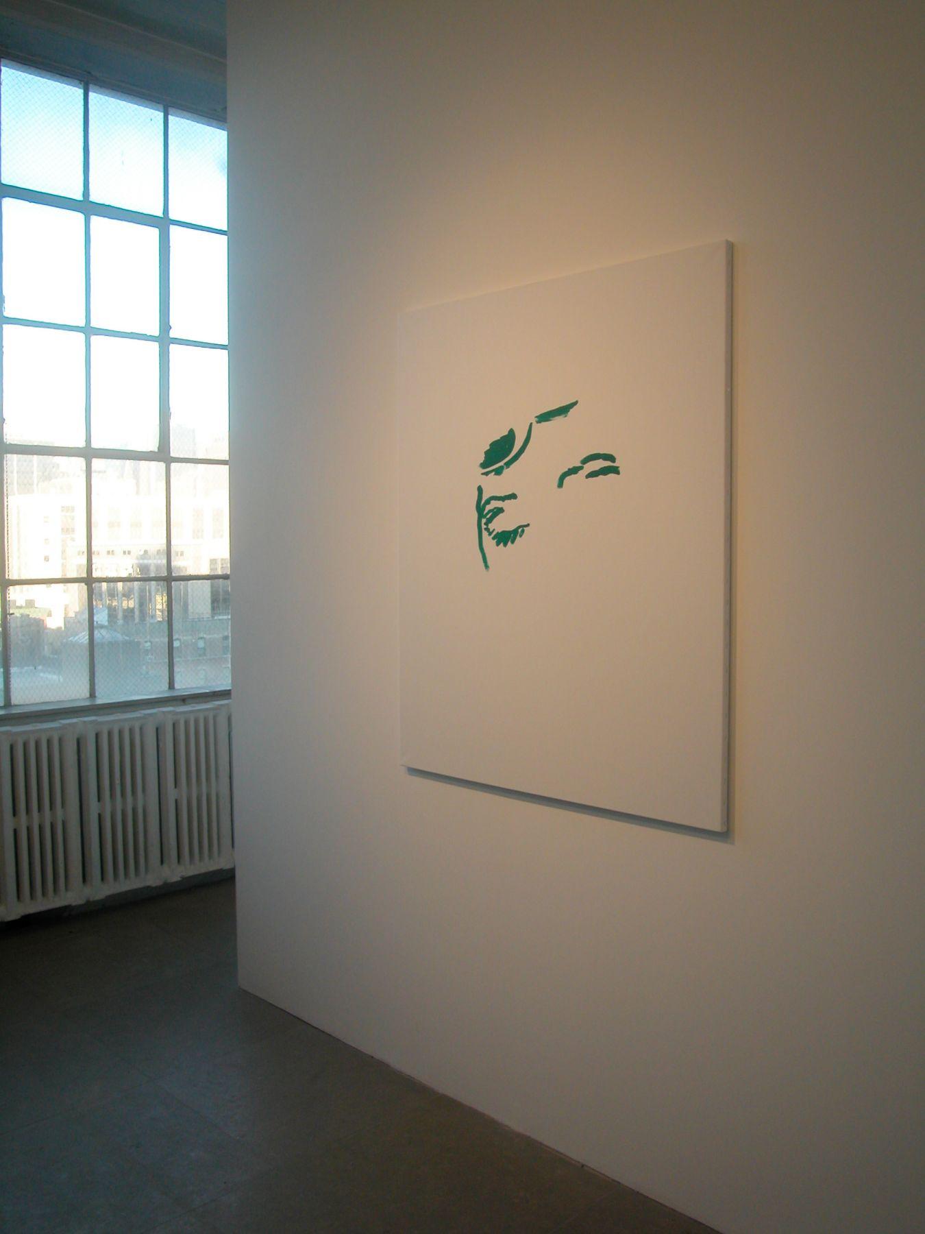 Michael Krebber,  A Ha, 2001,  Oil on canvas,  48 x 39 1/2 inches,  Installation view, Greene Naftali, New York, 2005