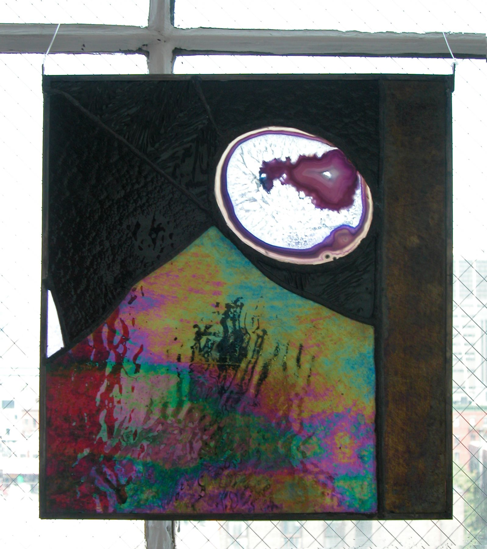 Jim Drain, Untitled (black stained glass), 2007, Stained glass, 16 x 14 inches