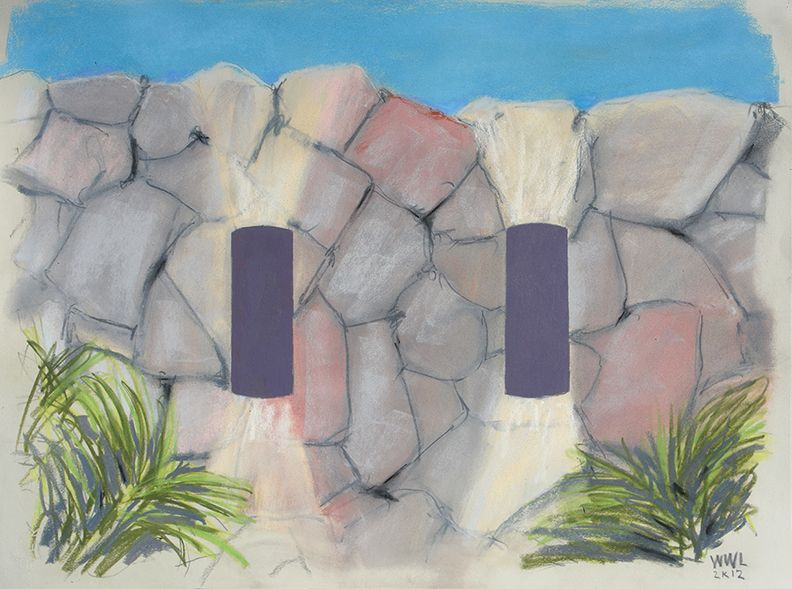 William Leavitt, Purple Wall Lights, 2012, Pastel on paper, 25 1/2 x 33 inches