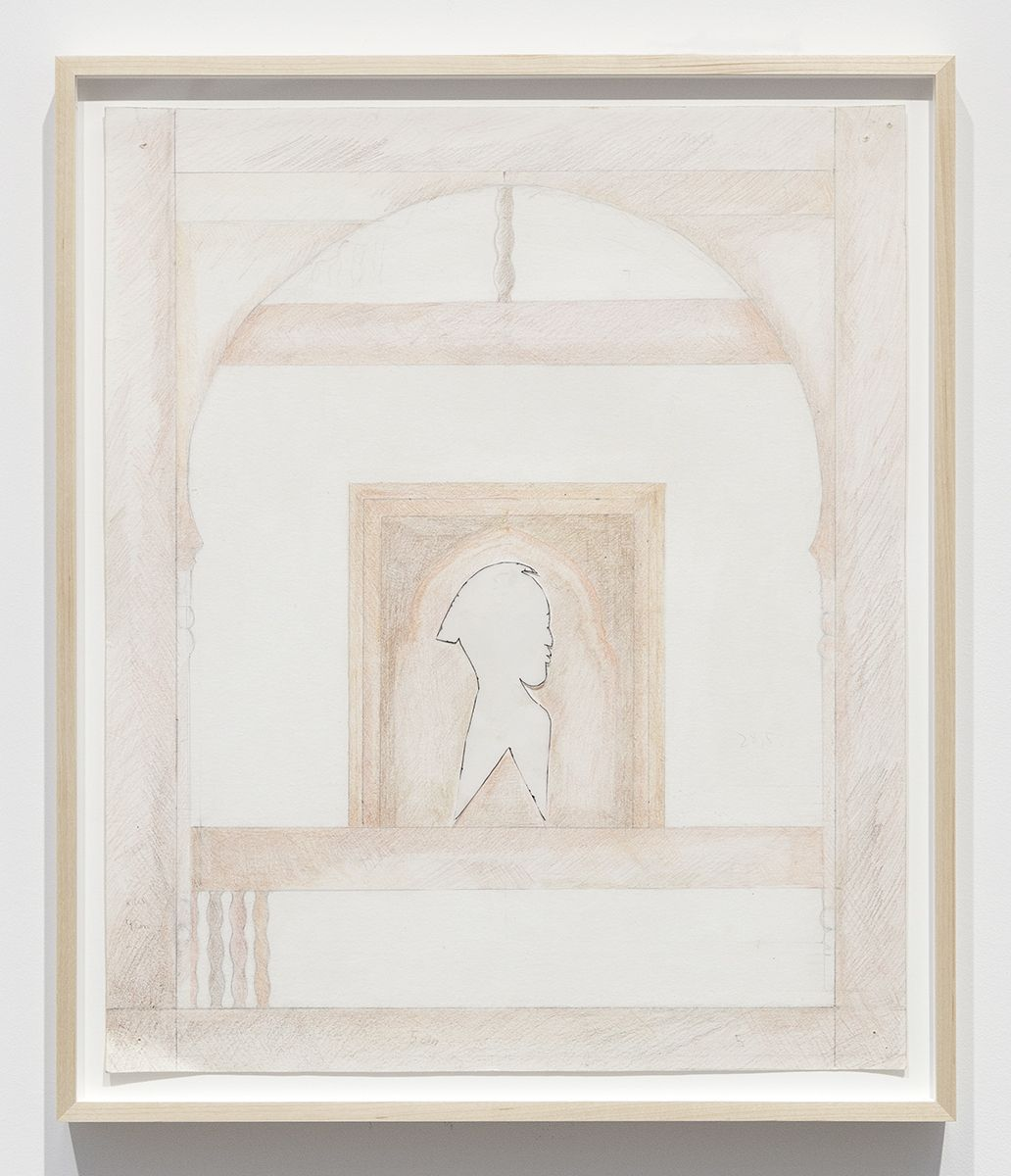Katharina Wulff Untitled, 2014 Pencil, colored pencil, ink, transparent paper on paper Paper: 23 5/8 x 19 5/8 inches (60 x 49.8 cm) Frame: 26 x 22 x 1 1/2 inches (66 x 55.9 x 3.8 cm)