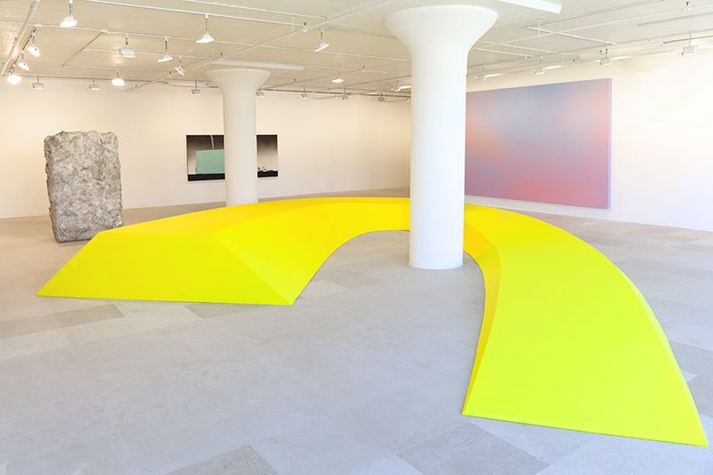 Some Dreamers of the Golden Dream, Lutz Bacher, Reflex Yellow, 2008, Wood, hardware, and paint, Dimensions variable
