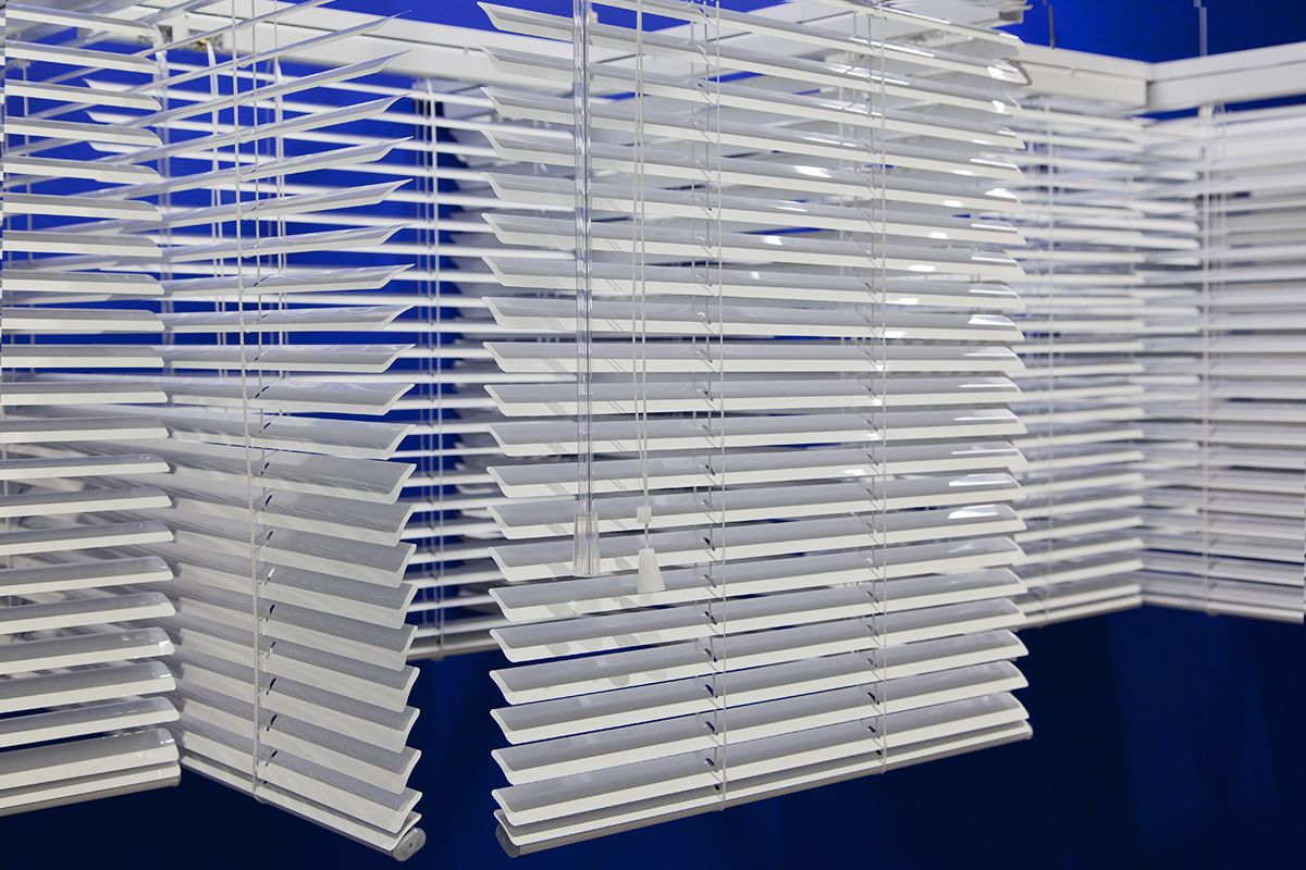 Haegue Yang,Sol LeWitt Upside Down onto Wall – White Five Part Modular Piece, Scaled Down 28 Times, 2016 (detail)