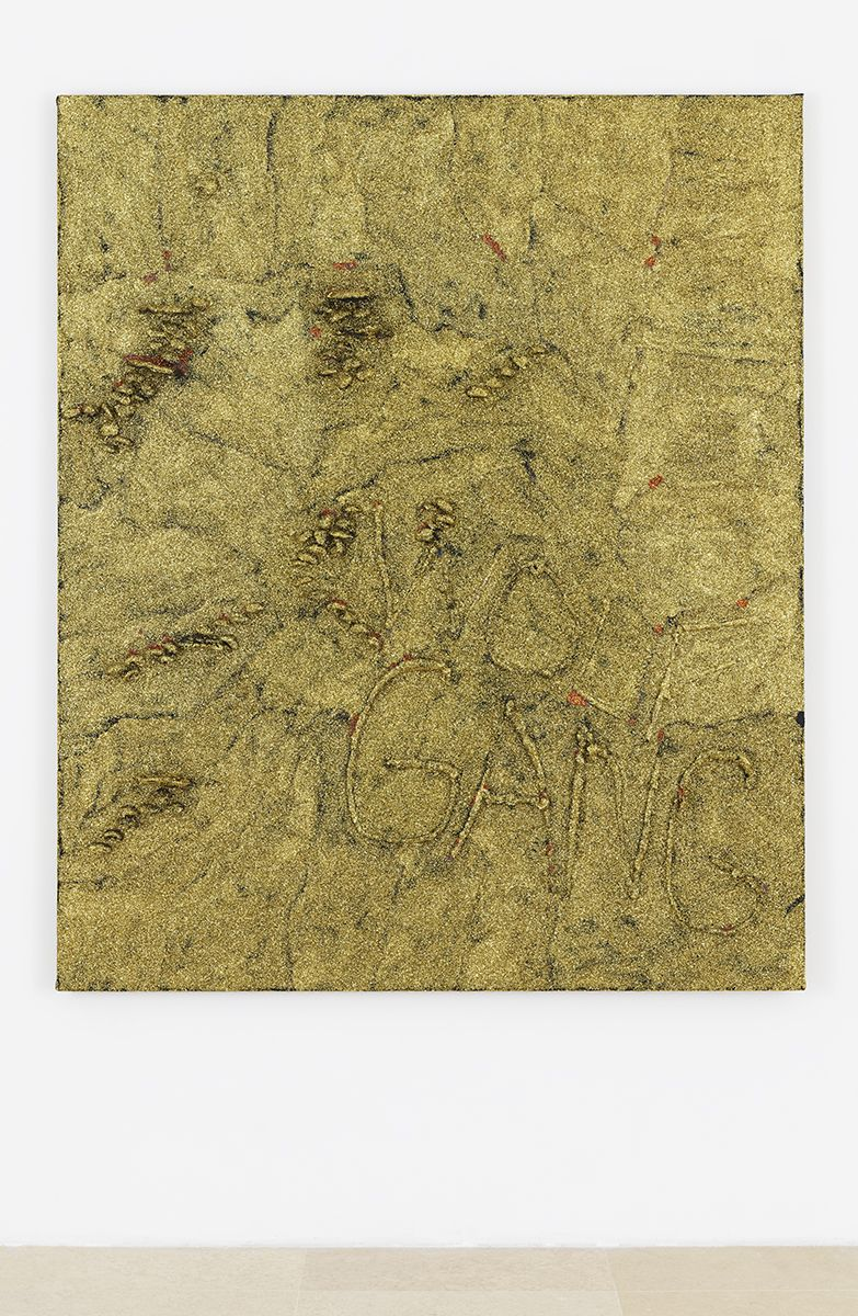 Mathieu Malouf  Wolfgang, 2017  Dried stabilized fungi, metallic glitter and polymer paint on raw Belgian linen  60 x 72 x 3 3/4 inches (152.4 x 182.9 x 9.5 cm)