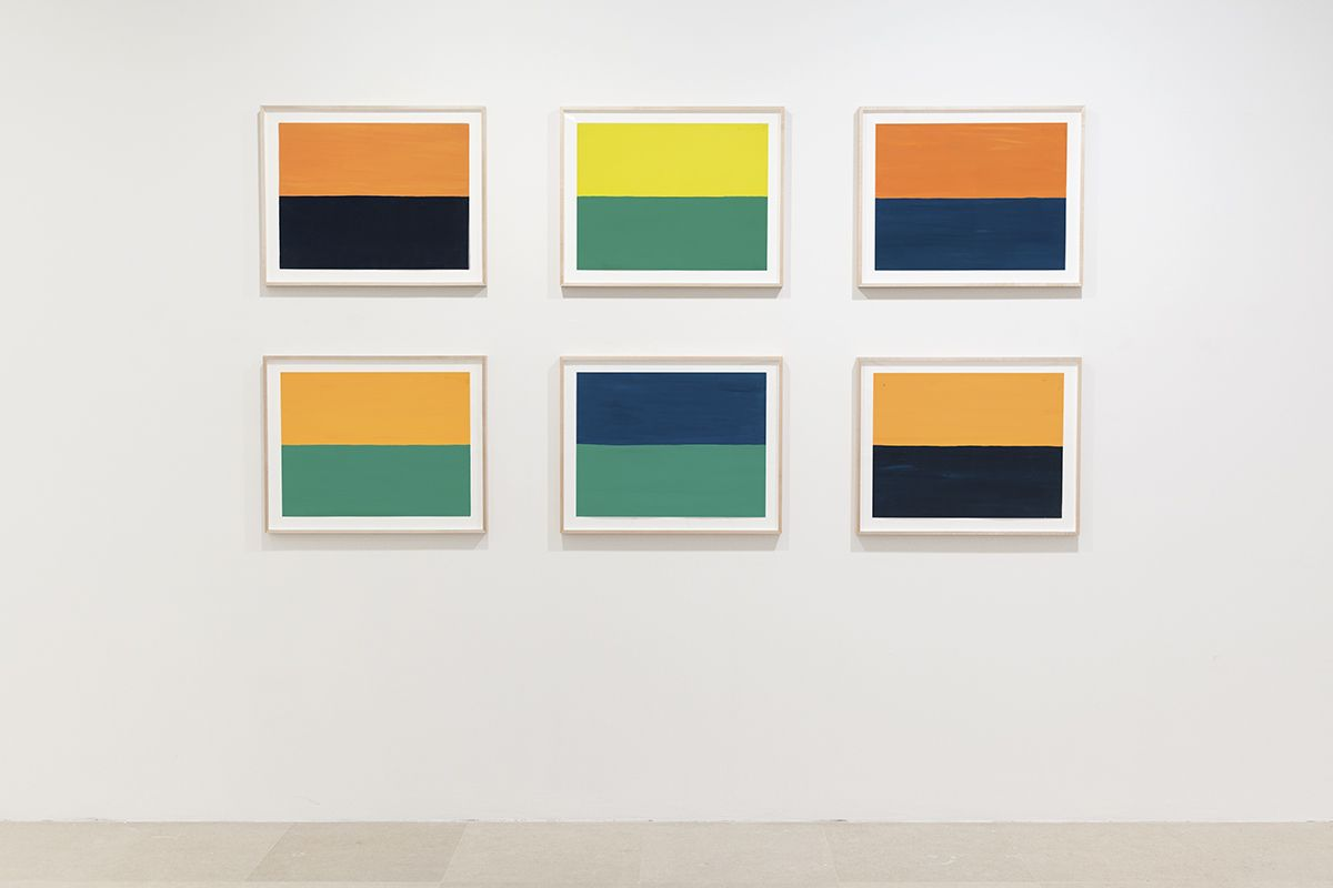 Günther Förg  Untitled, 1992 Gouache on paper  Paper: 19 5/8 x 25 1/4 inches (50 x 64 cm) each  Frame: 24 x 29 7/8 inches (61 x 75.9 cm) each