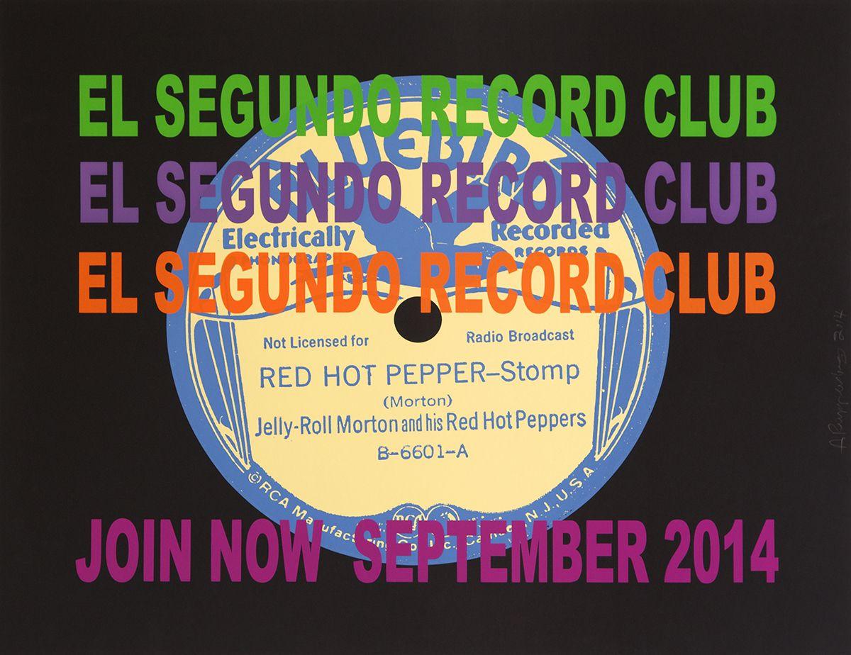 Allen Ruppersberg El Segundo Record Club (Blue Bird), 2014 Silkscreen  Paper: 35 1/4 x 44 1/8 inches (89.5 x 112.1 cm) Frame: 37 3/4 x 46 7/8 inches (95.9 x 119.1 cm)