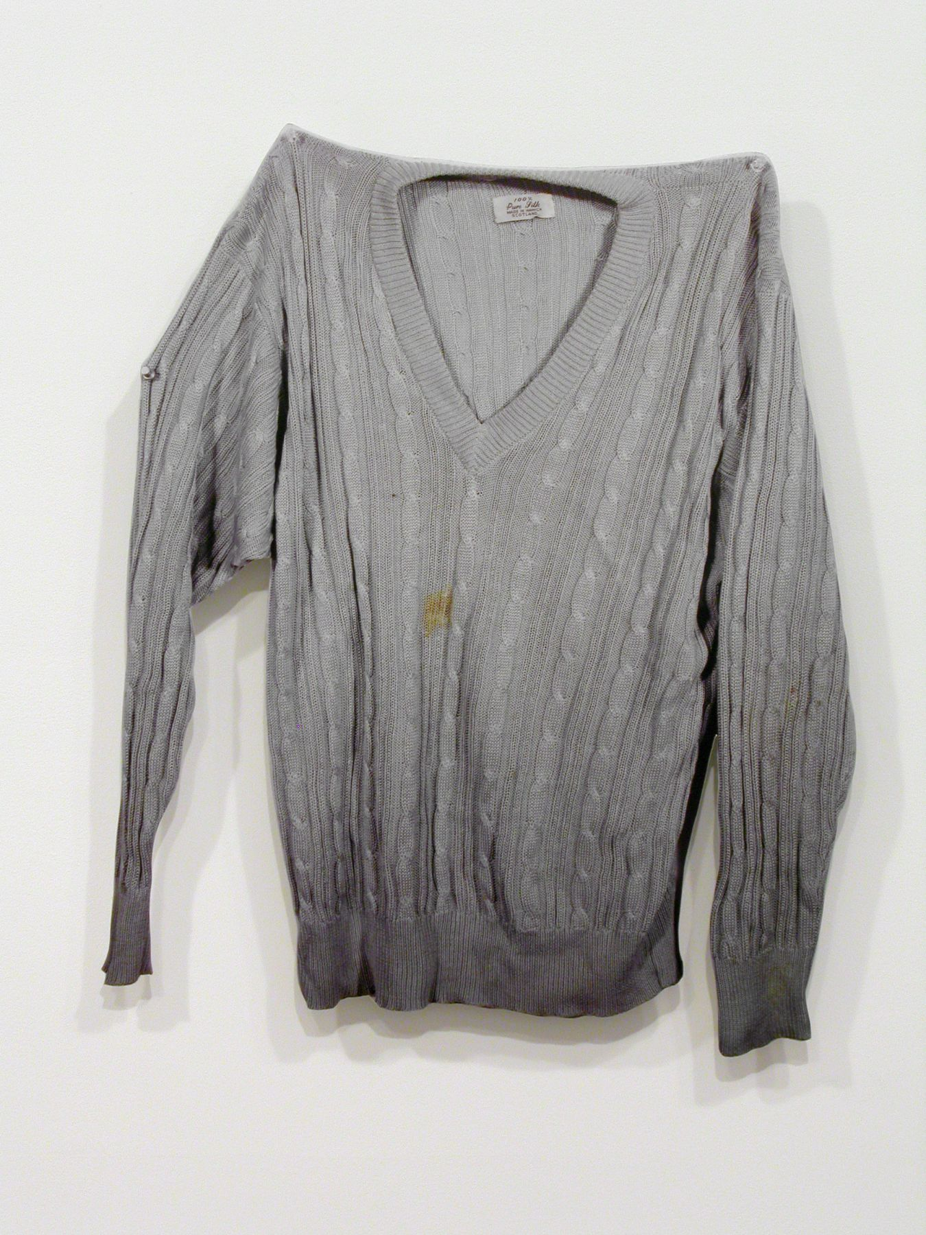 Jim Drain, Untitled (grey sweater with holes), 2007, C-print, Mounted on Aluminum, 26 1/4 x 41 x 1 inches