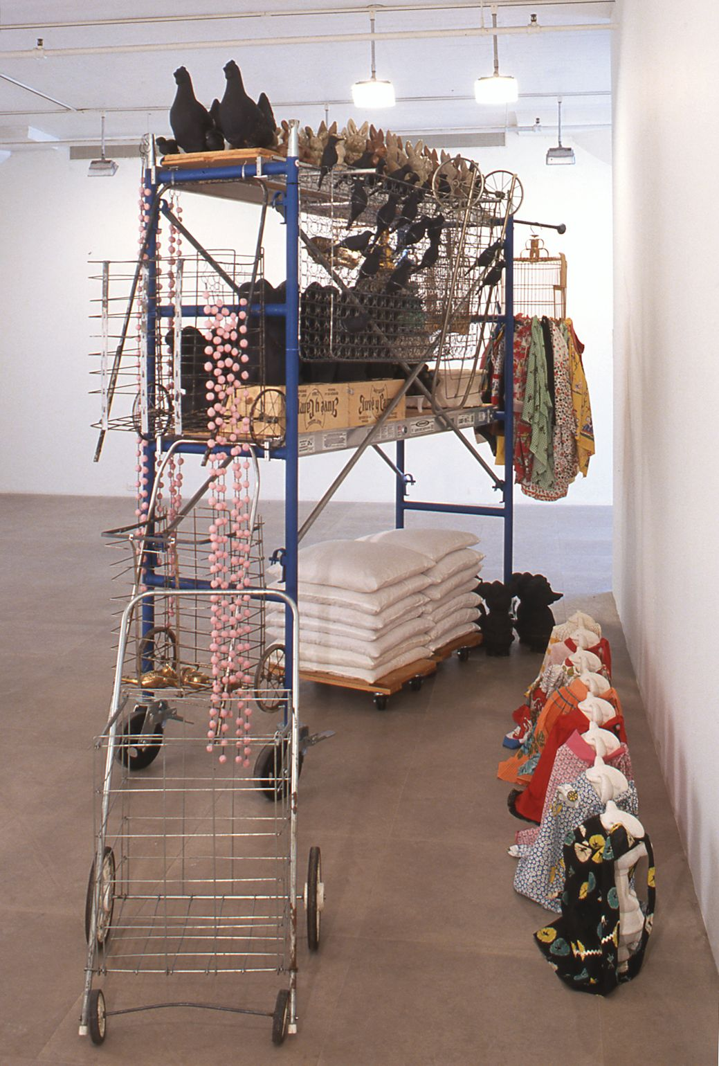 Yoko Inoue,  Stories on the Move II, 2000, mixed media, ceramics, fabric, steel scaffolding, dimensions variable