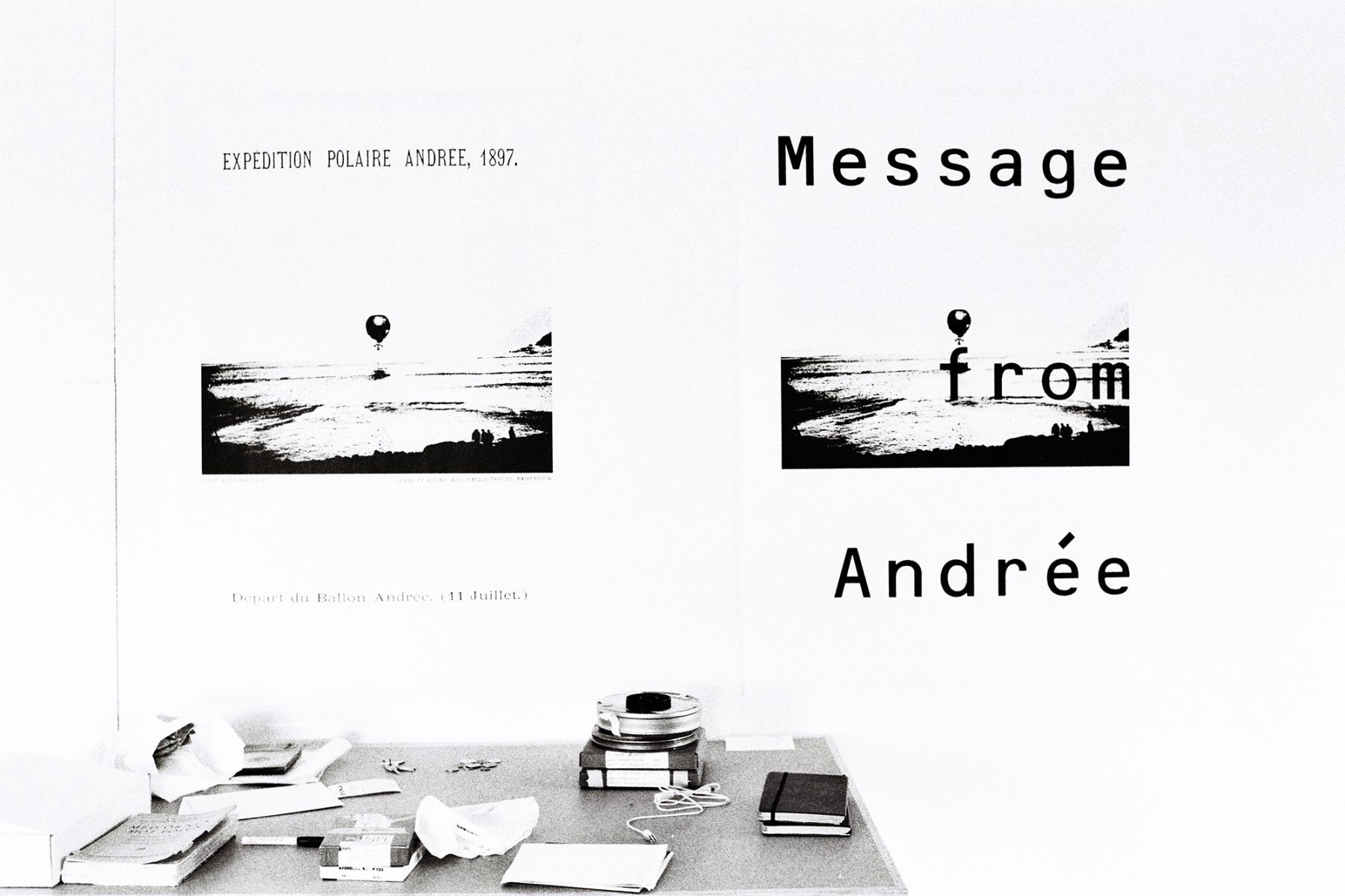 Message from Andrée, 2005,  16mm film loop, posters, text,  dimensions variable